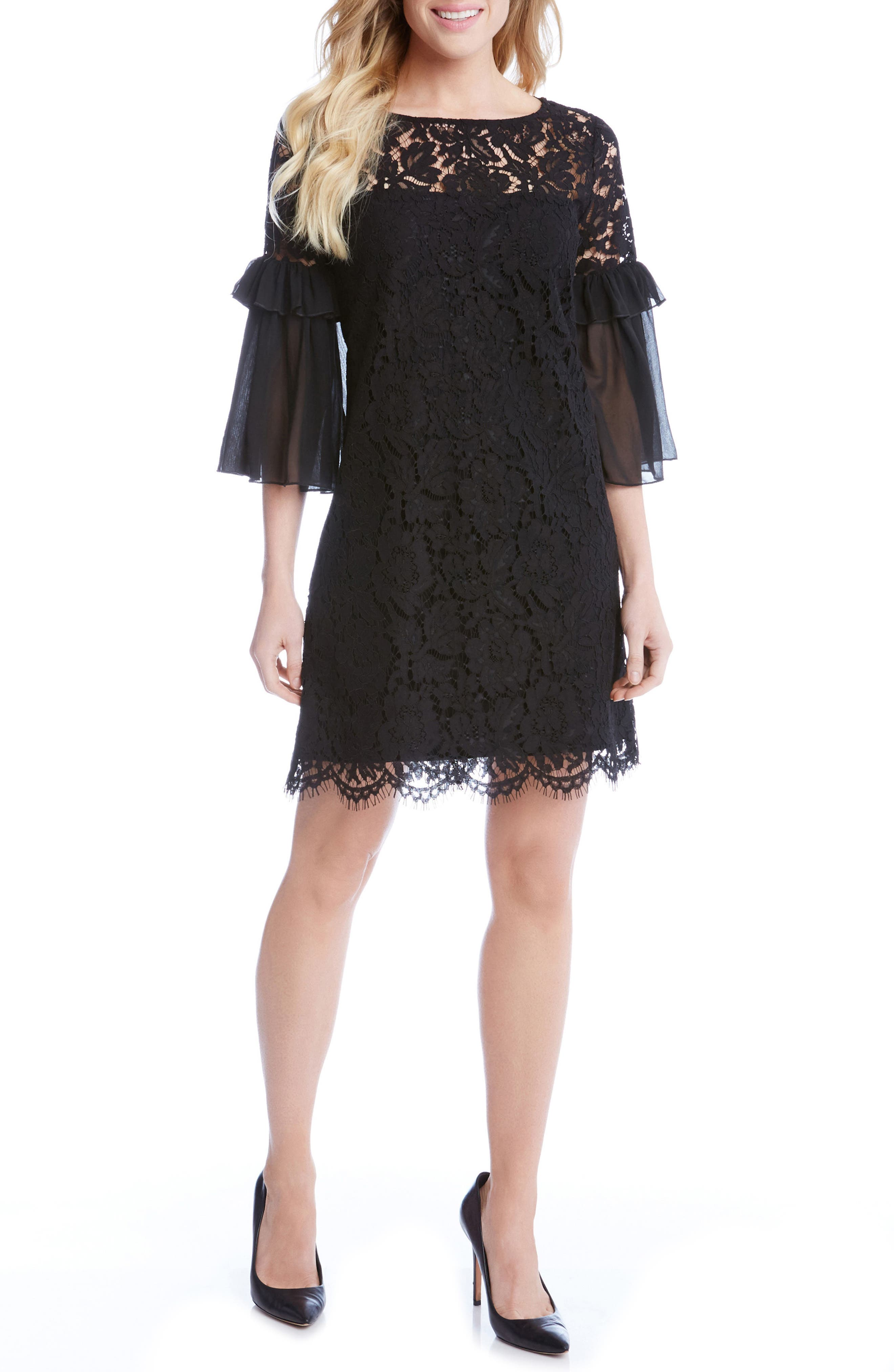 Karen Kane Ruffle Sleeve Lace Shift Dress (Regular & Petite)