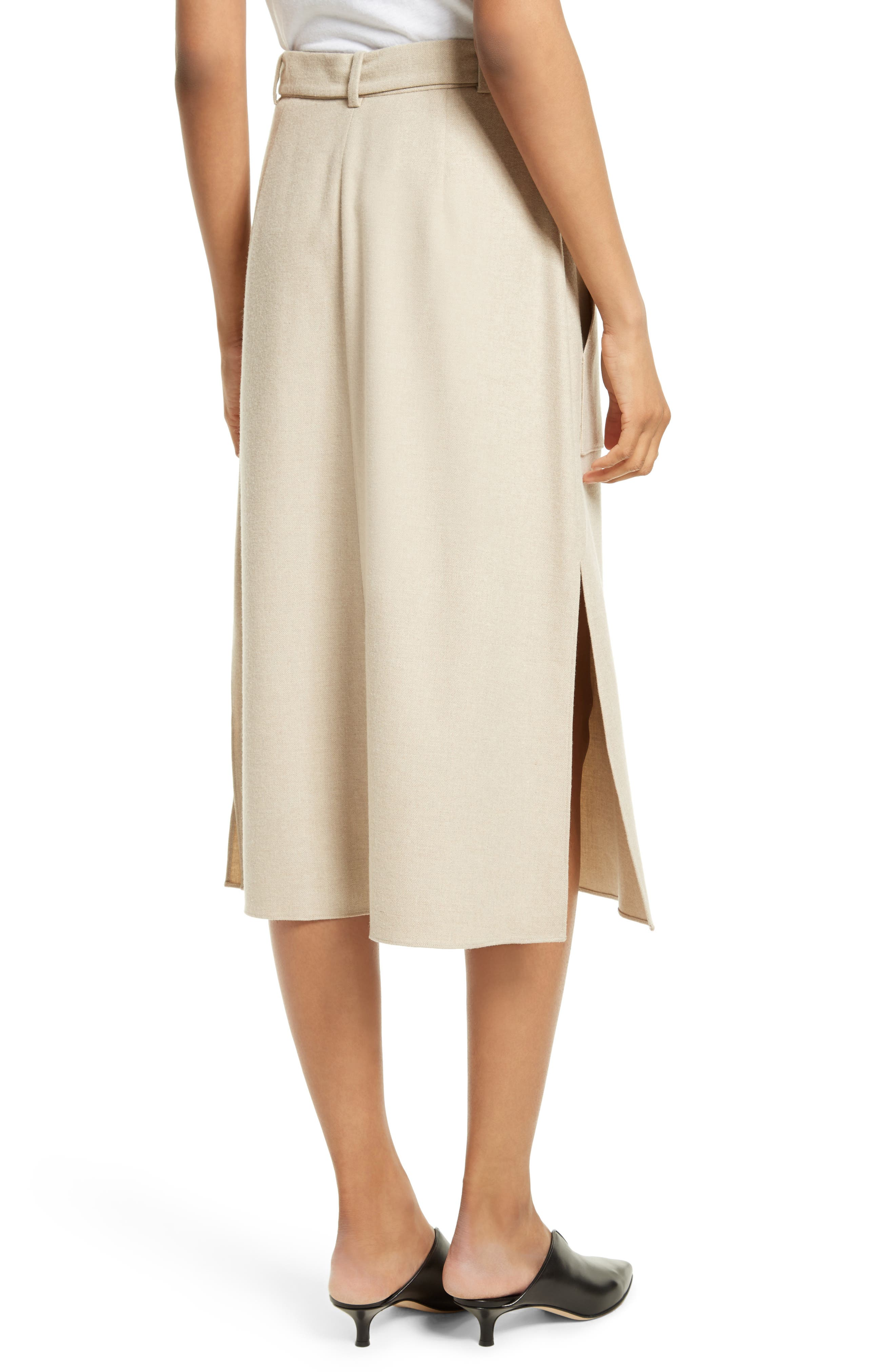 Wilson Twill Midi Skirt,                             Alternate thumbnail 3, color,                             Oatmeal