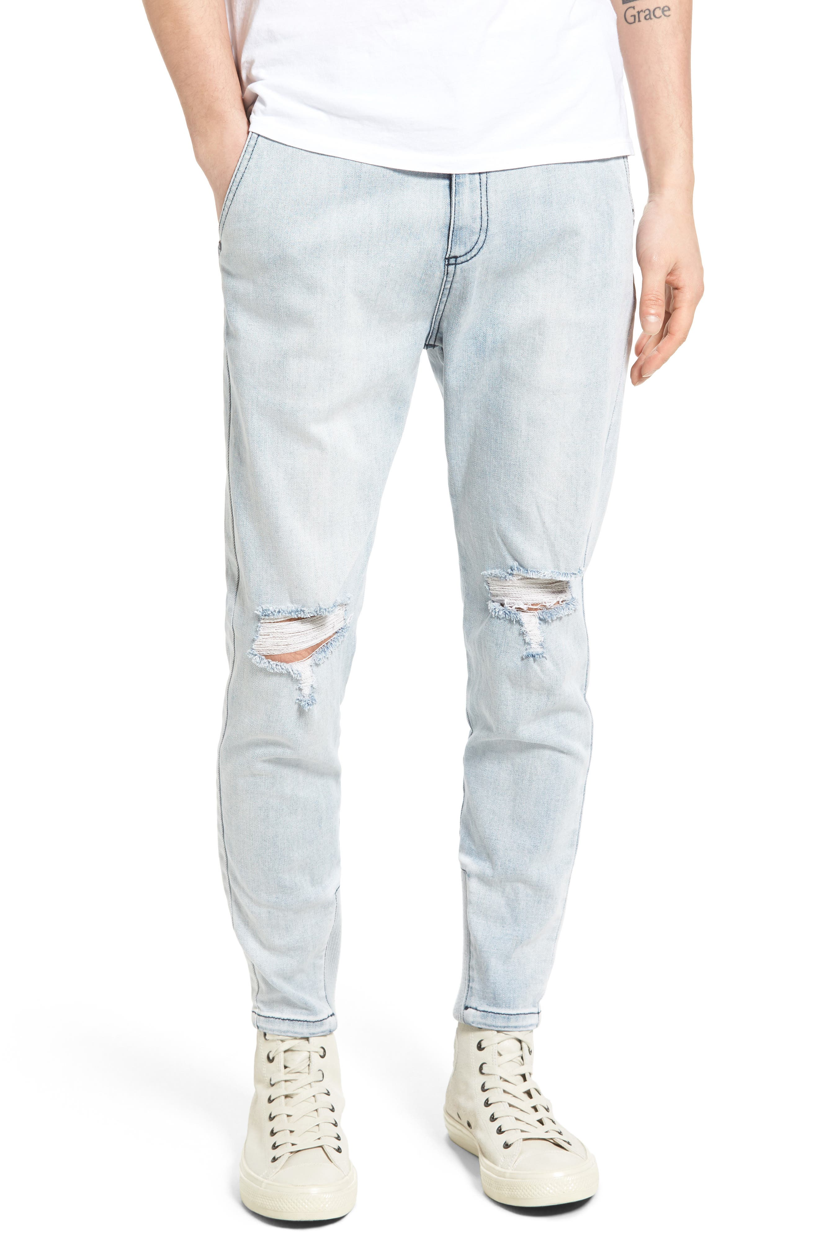 Sharpshot Slouchy Skinny Fit Denim Pants,                         Main,                         color, Busted Blue Thrash
