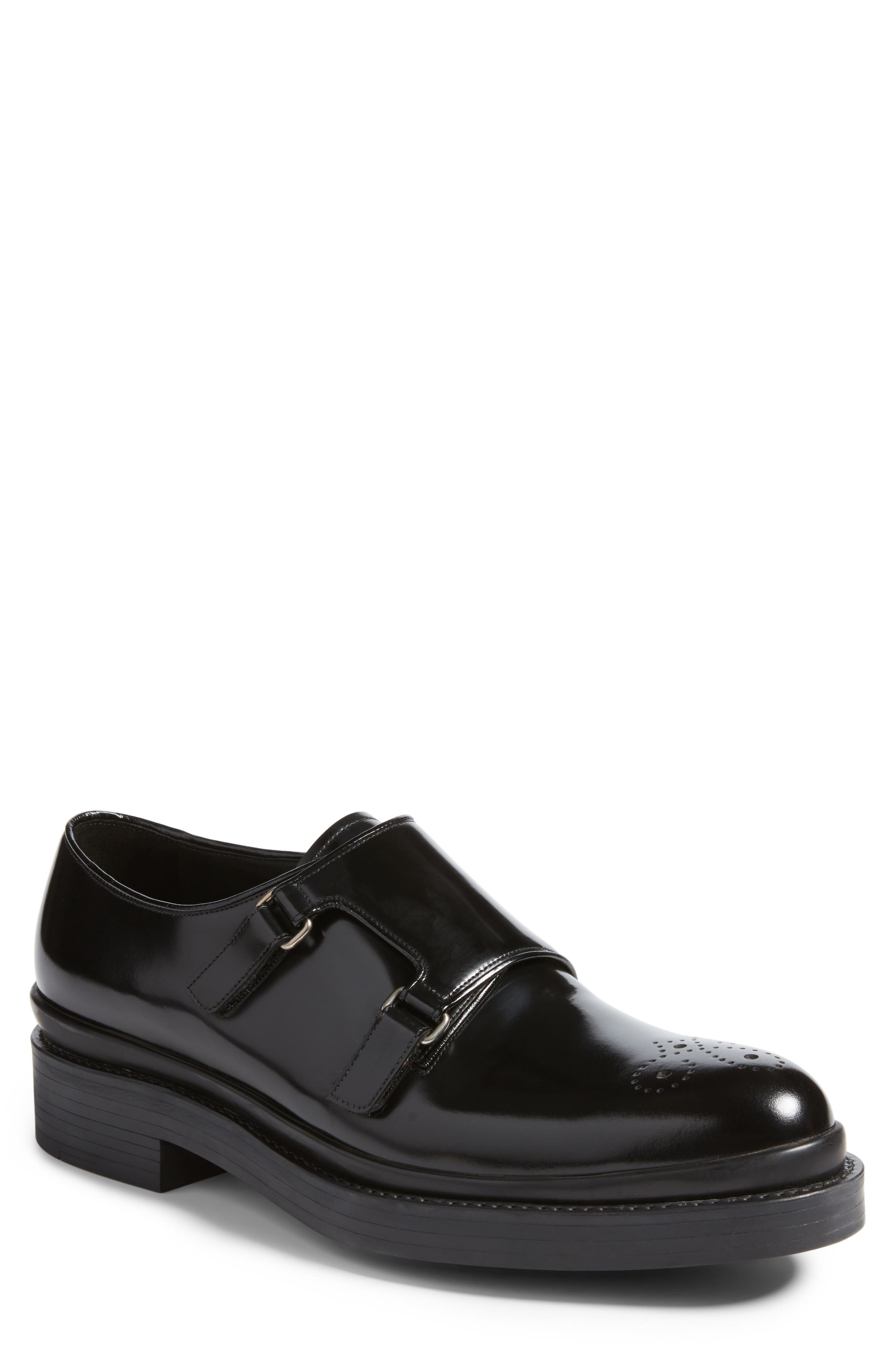 Double Monk Strap Shoe,                             Main thumbnail 1, color,                             Nero