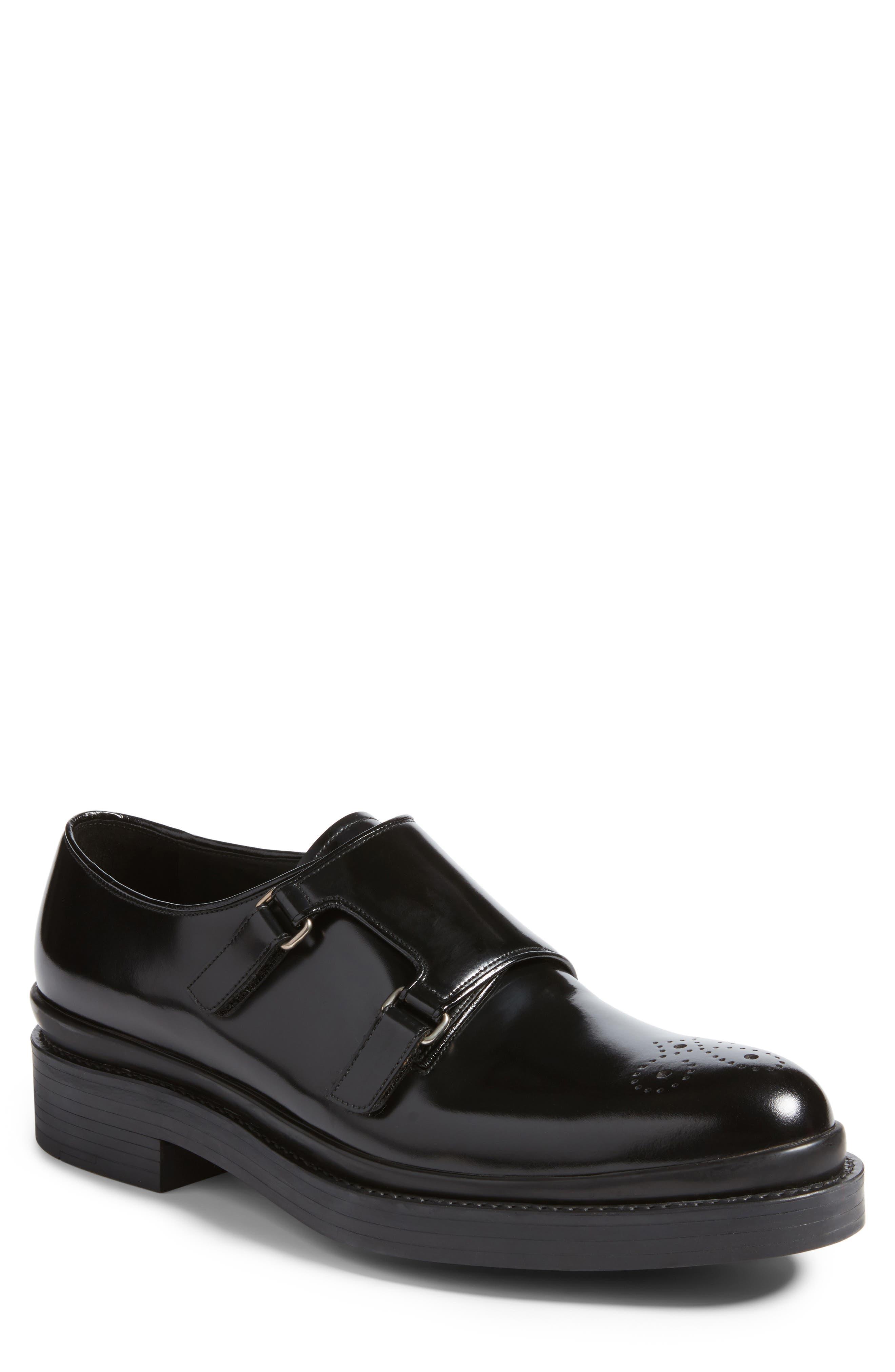 Double Monk Strap Shoe,                         Main,                         color, Nero