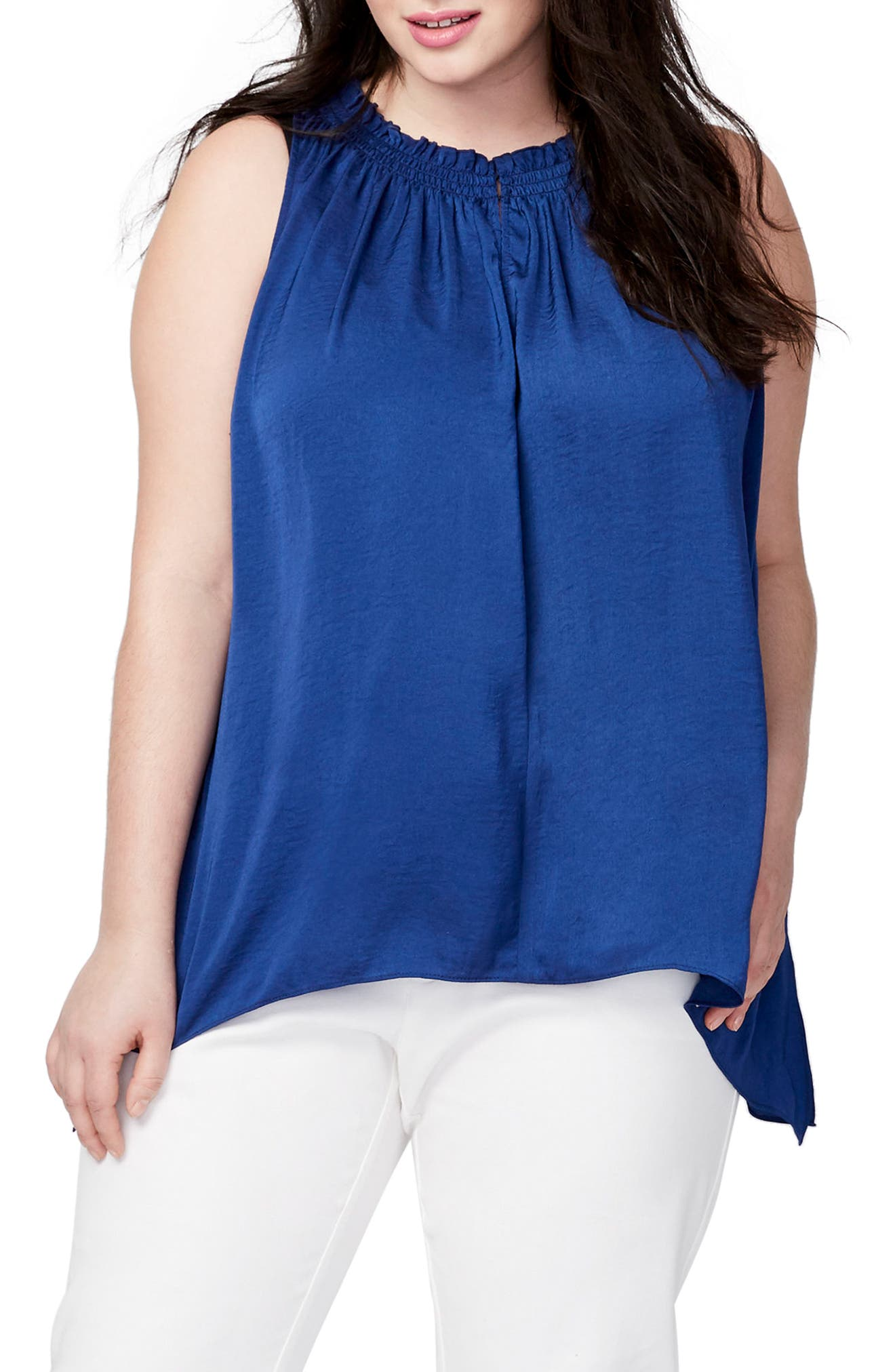 Melinda Asymmetrical Hem Top,                         Main,                         color, Blue Lagoon
