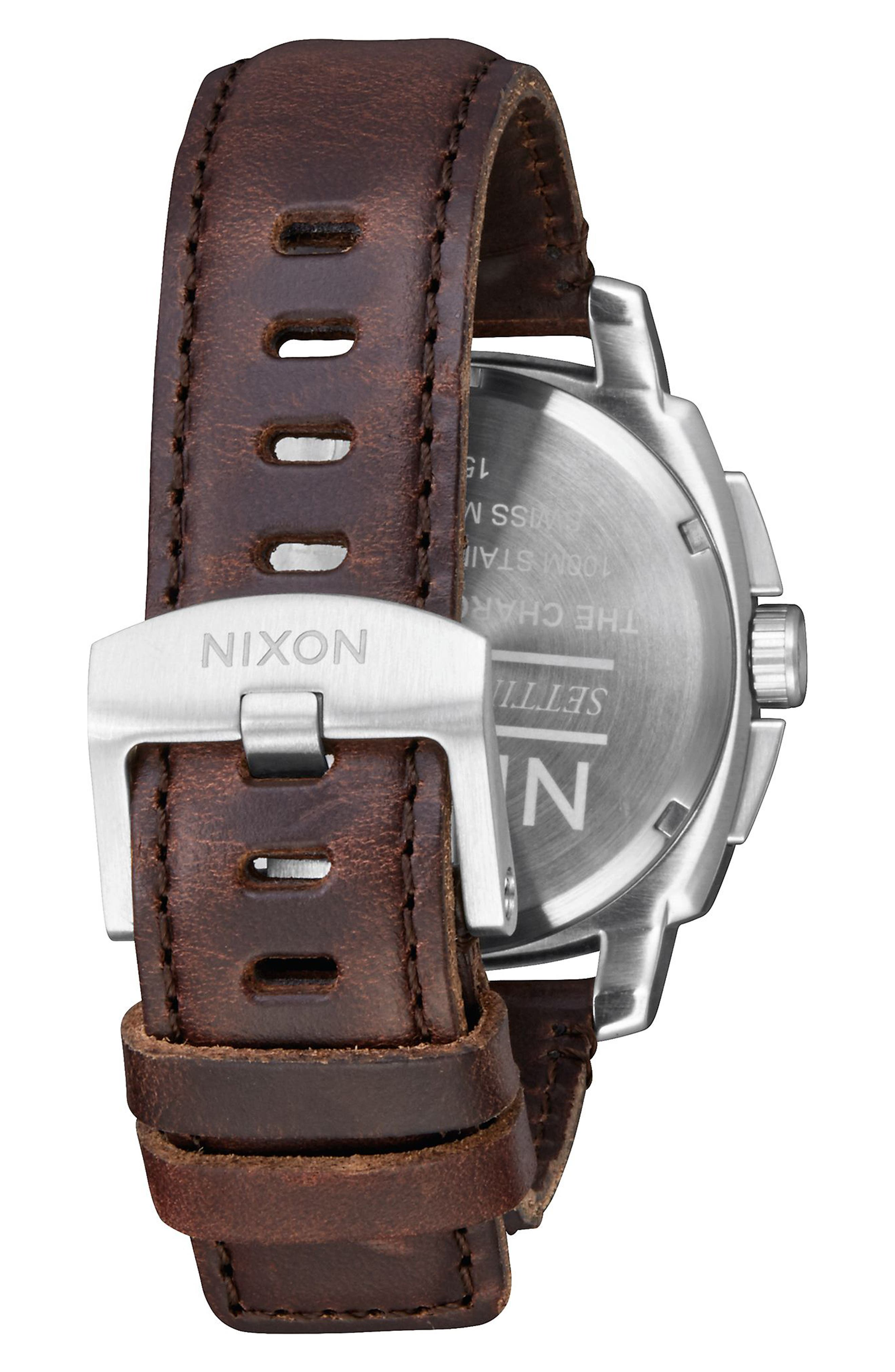 Alternate Image 2  - Nixon Charger Chronograph Leather Strap Watch, 42mm