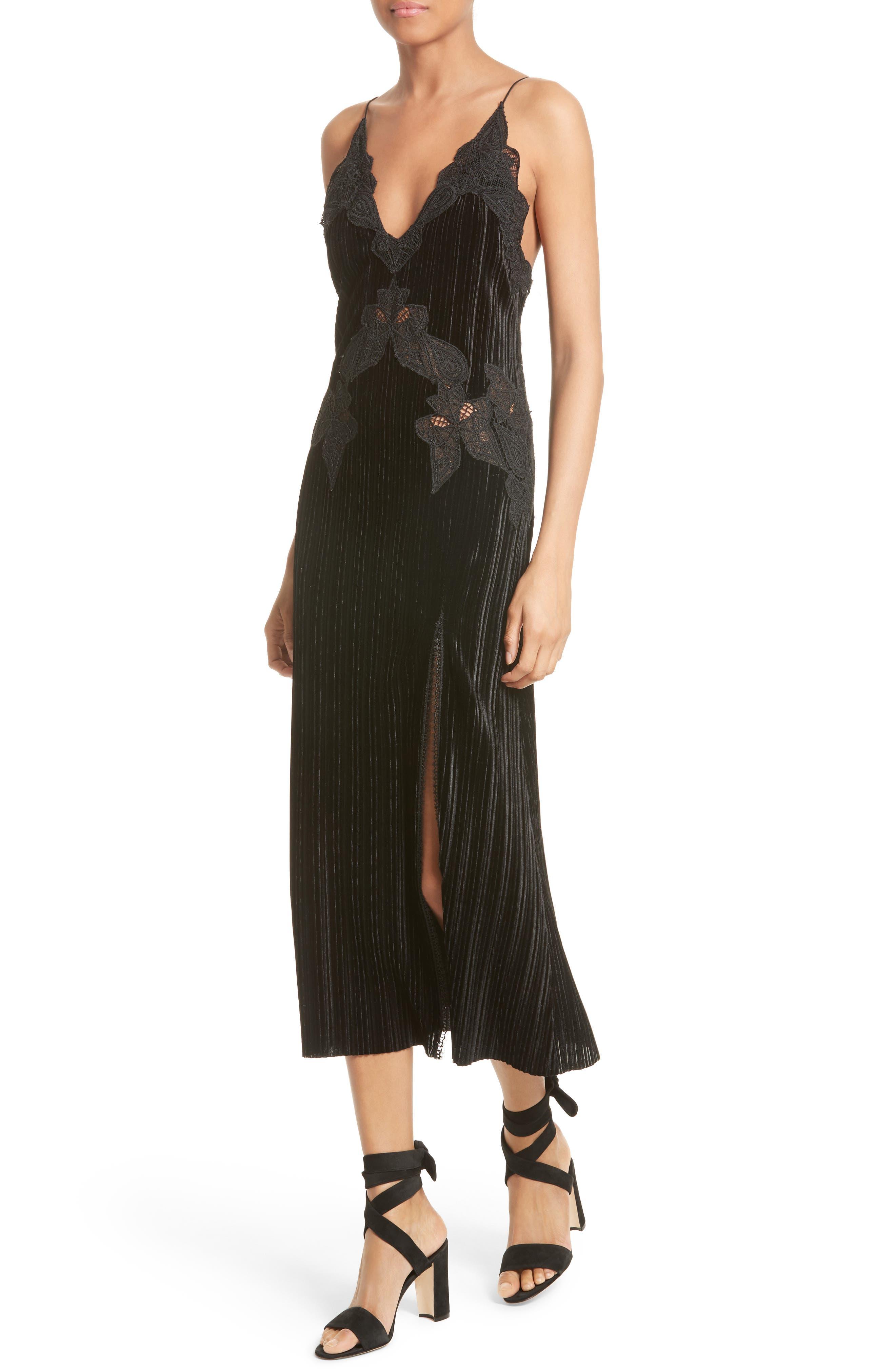 Lace Appliqué Crinkled Velvet Dress,                             Alternate thumbnail 4, color,                             Black