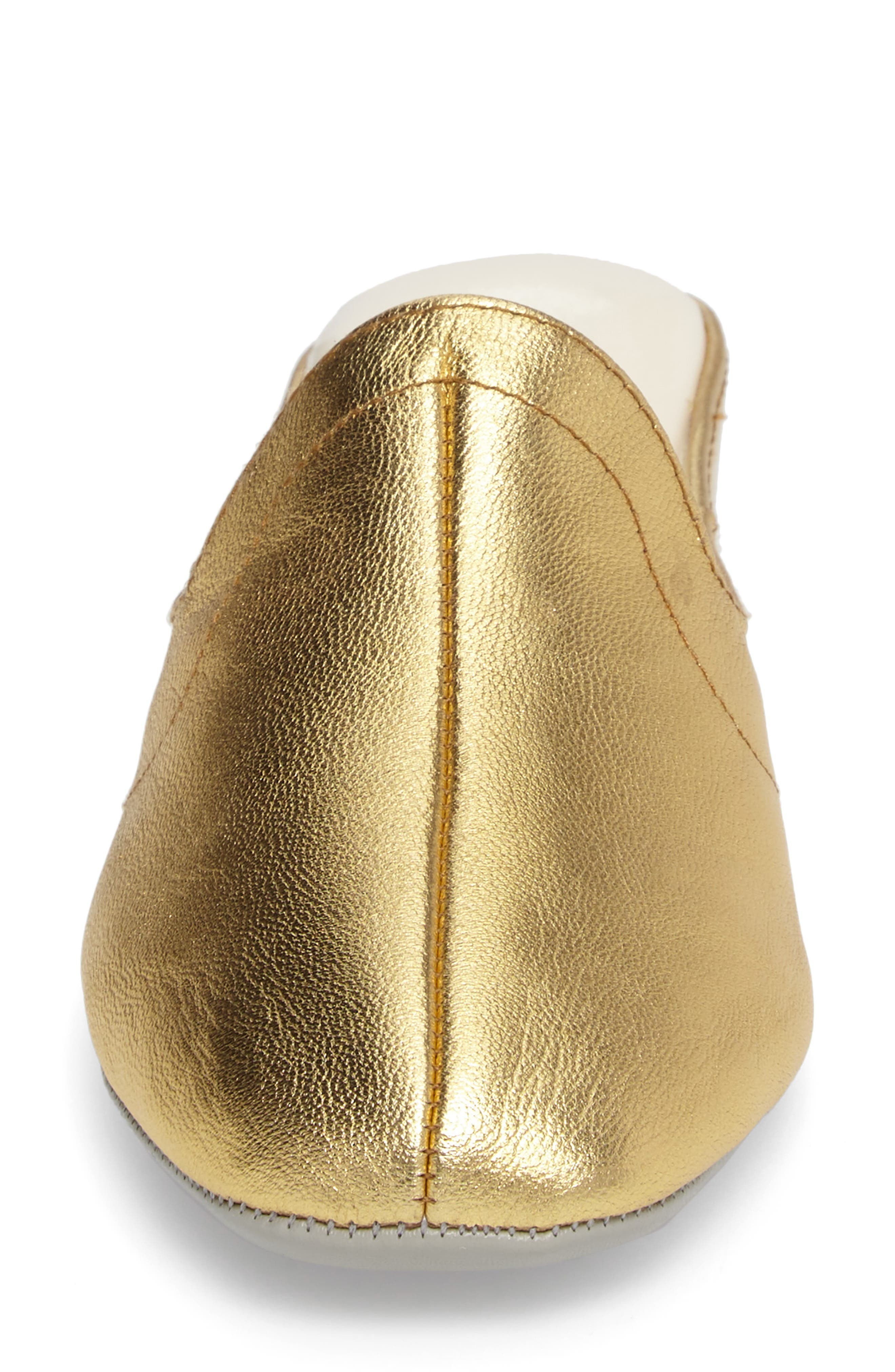 Glamour Scuff Slipper,                             Alternate thumbnail 5, color,                             Gold Leather