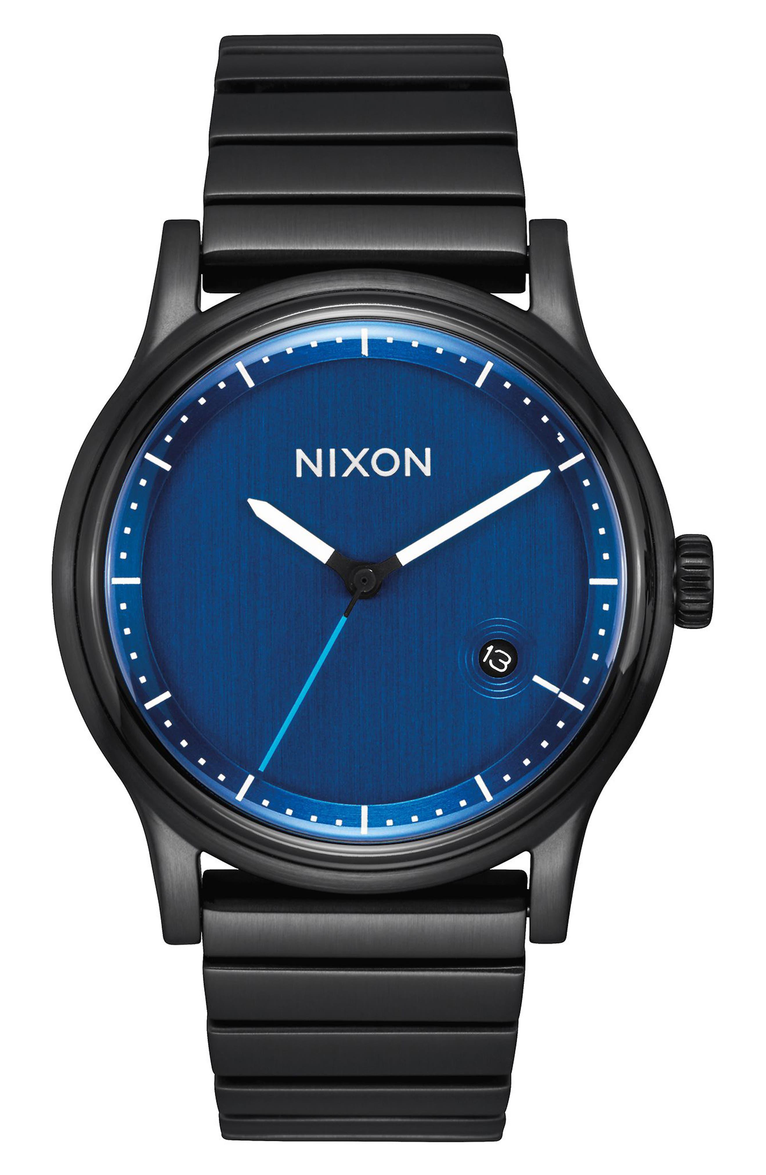 Station Bracelet Watch, 41mm,                         Main,                         color, Black/ Blue/ Black