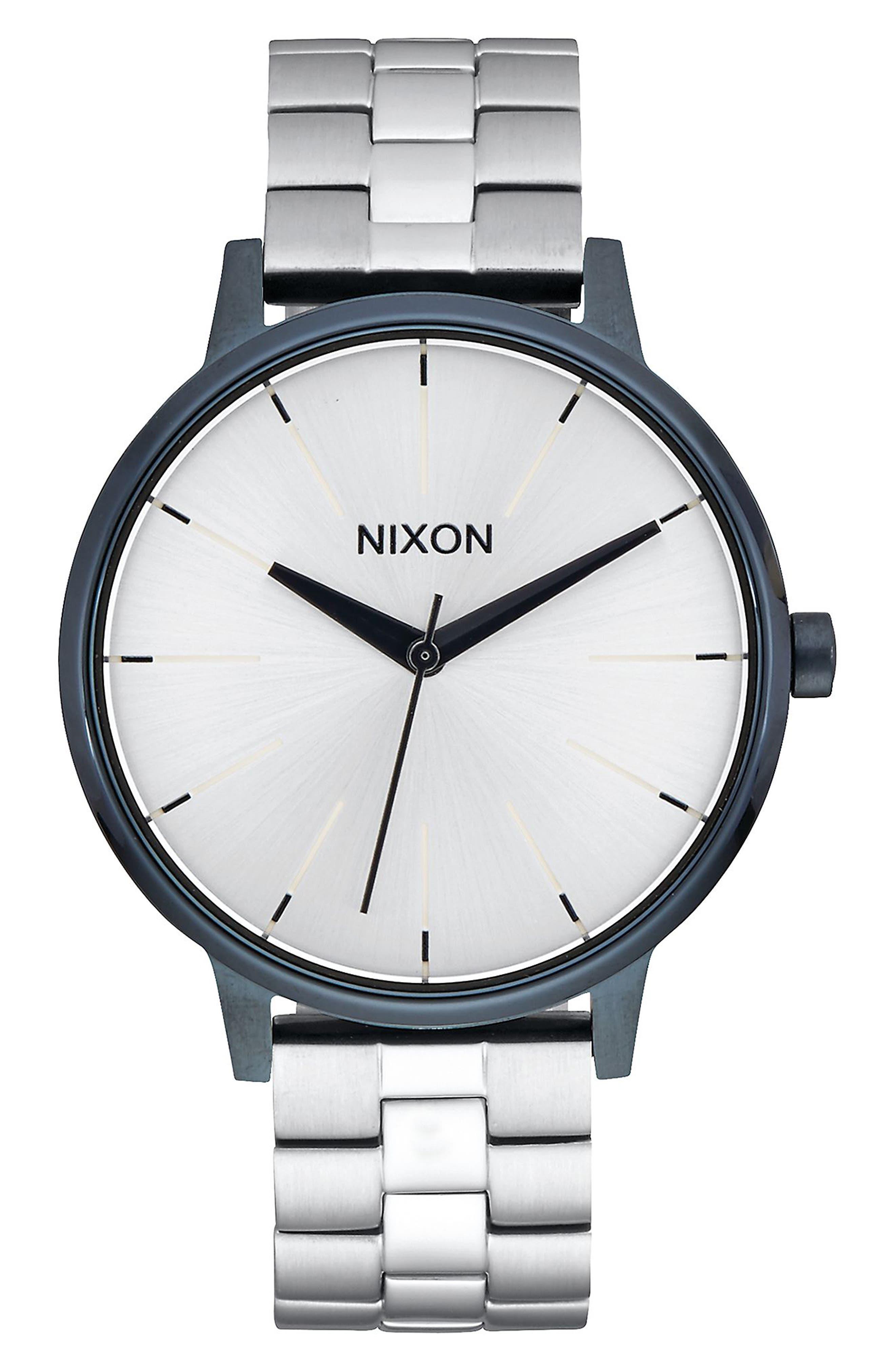 'The Kensington' Bracelet Watch, 37mm,                         Main,                         color, Silver/ White/ Navy