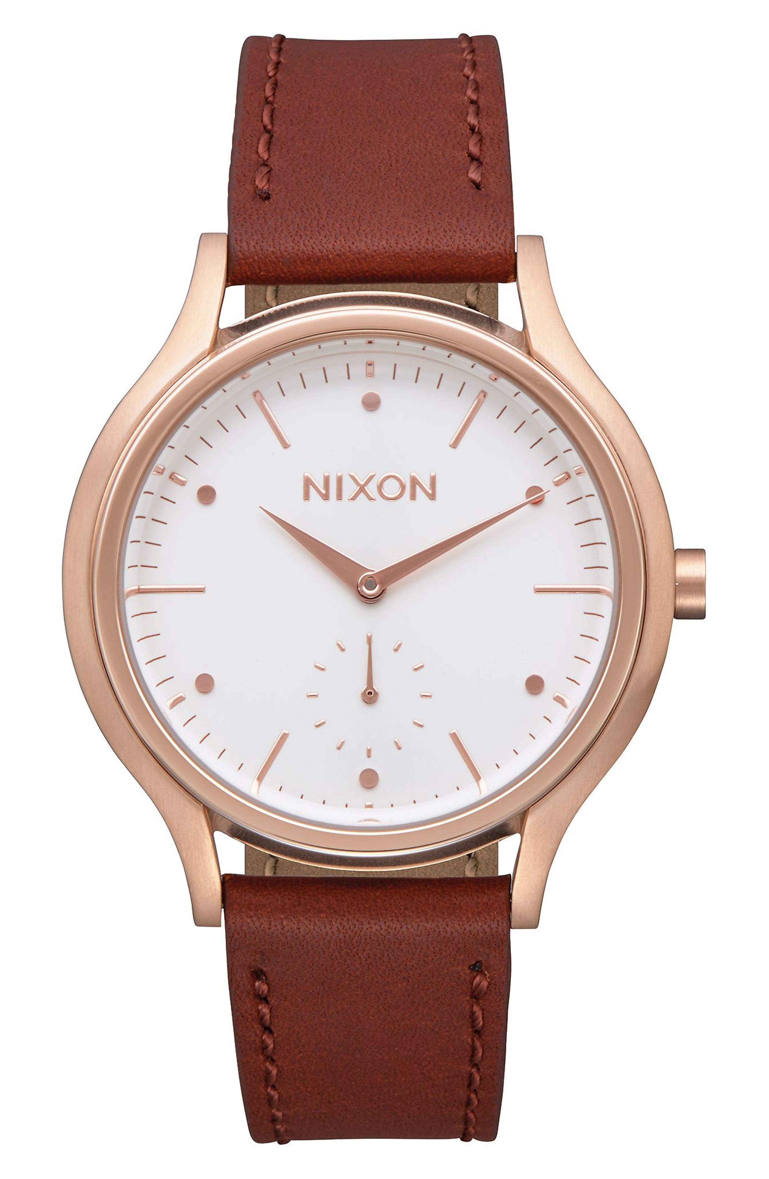 Sala Leather Strap Watch, 38mm,                             Main thumbnail 1, color,                             Brown/ White/ Rose Gold