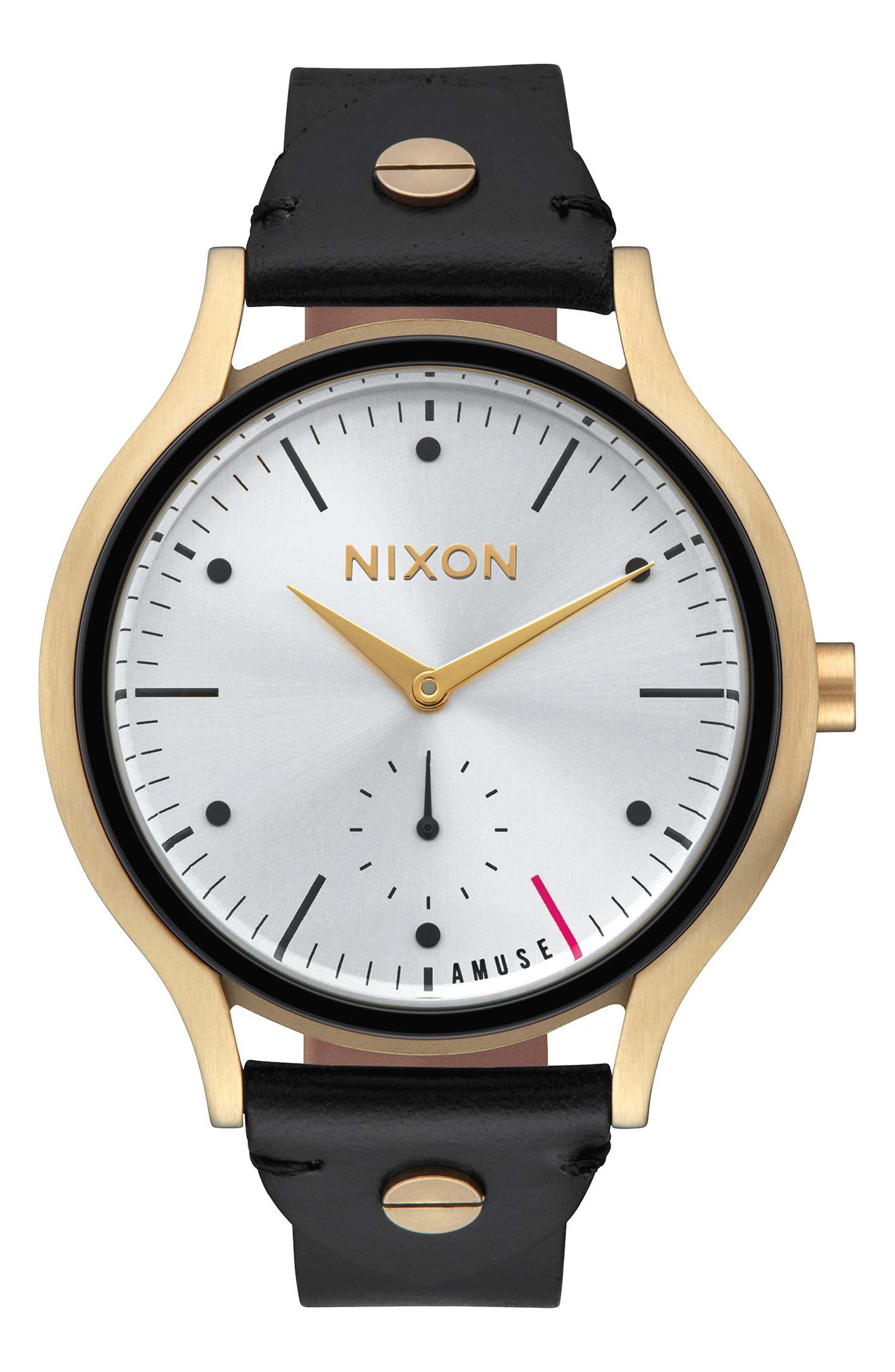 Alternate Image 1 Selected - Nixon Sala Leather Strap Watch, 38mm