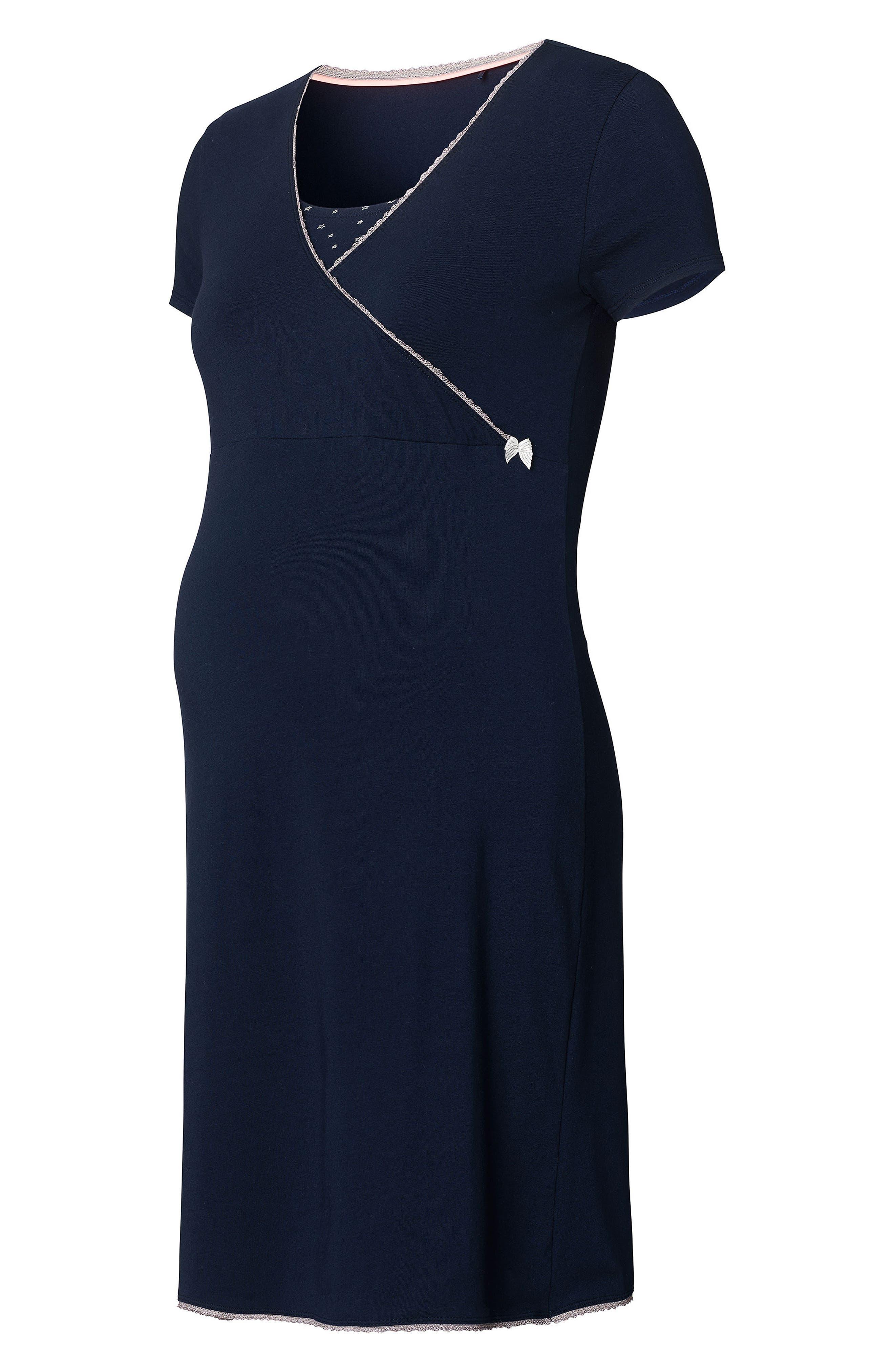 Kimm Maternity/Nursing Jersey Dress,                             Alternate thumbnail 3, color,                             Blue