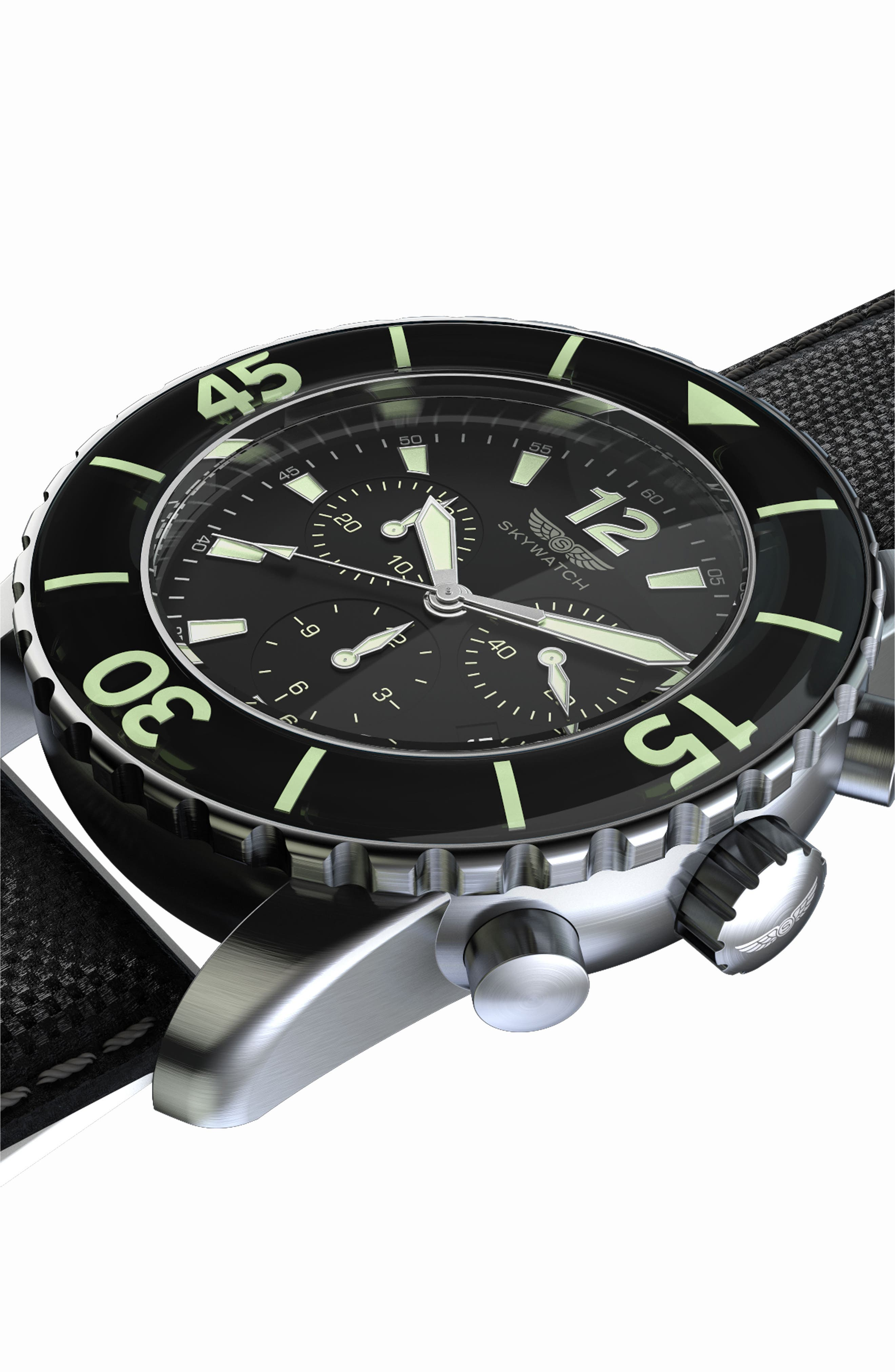 Alternate Image 5  - SKYWATCH Classic Chronograph Woven Strap Watch, 46mm
