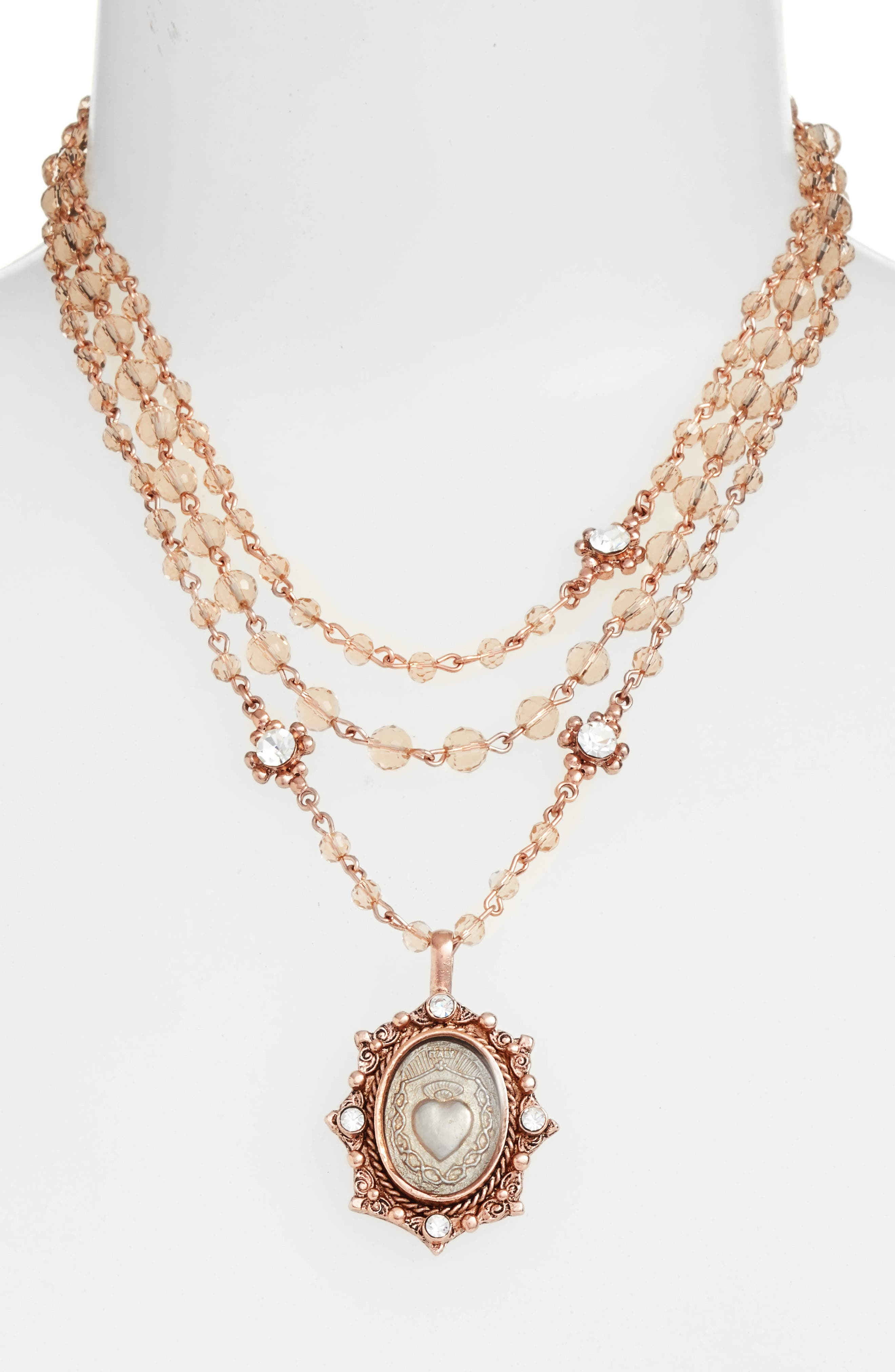 Sacred Heart Magdalena Multistrand Necklace,                             Alternate thumbnail 2, color,                             Rose Gold/ Champagne