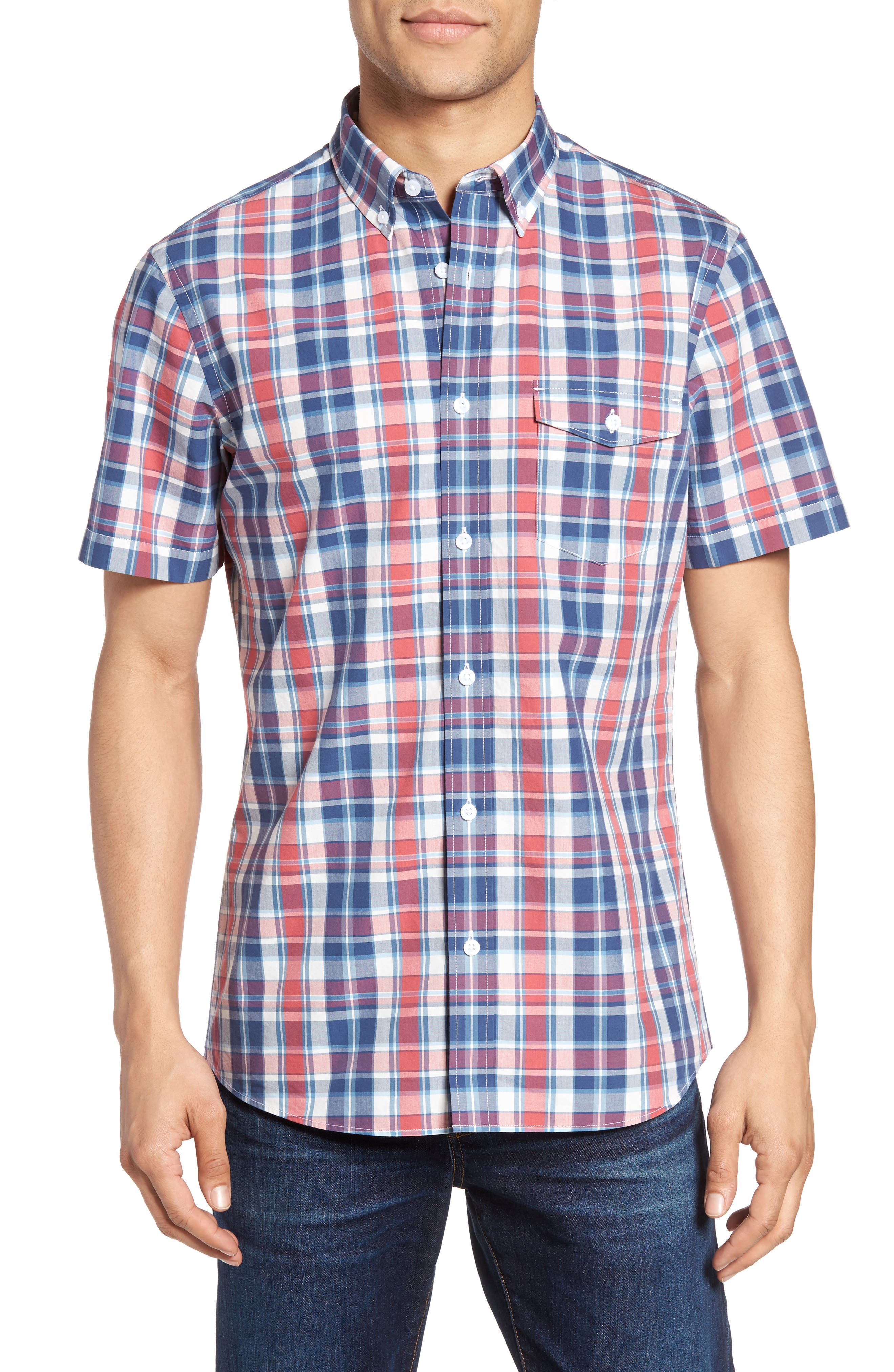NORDSTROM MENS SHOP Slim Fit Plaid Sport Shirt