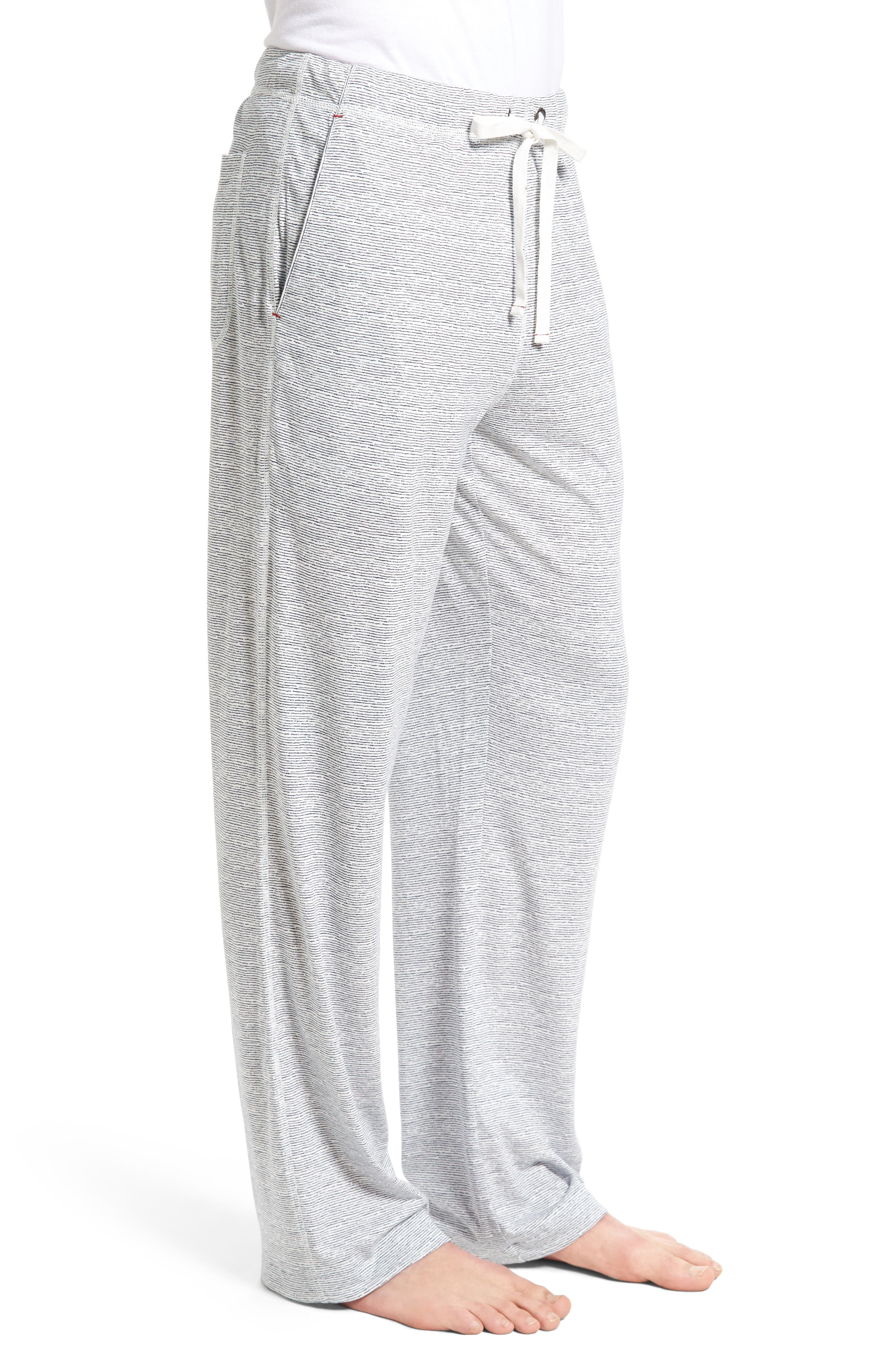 Pima Cotton & Modal Lounge Pants,                             Alternate thumbnail 3, color,                             Blue