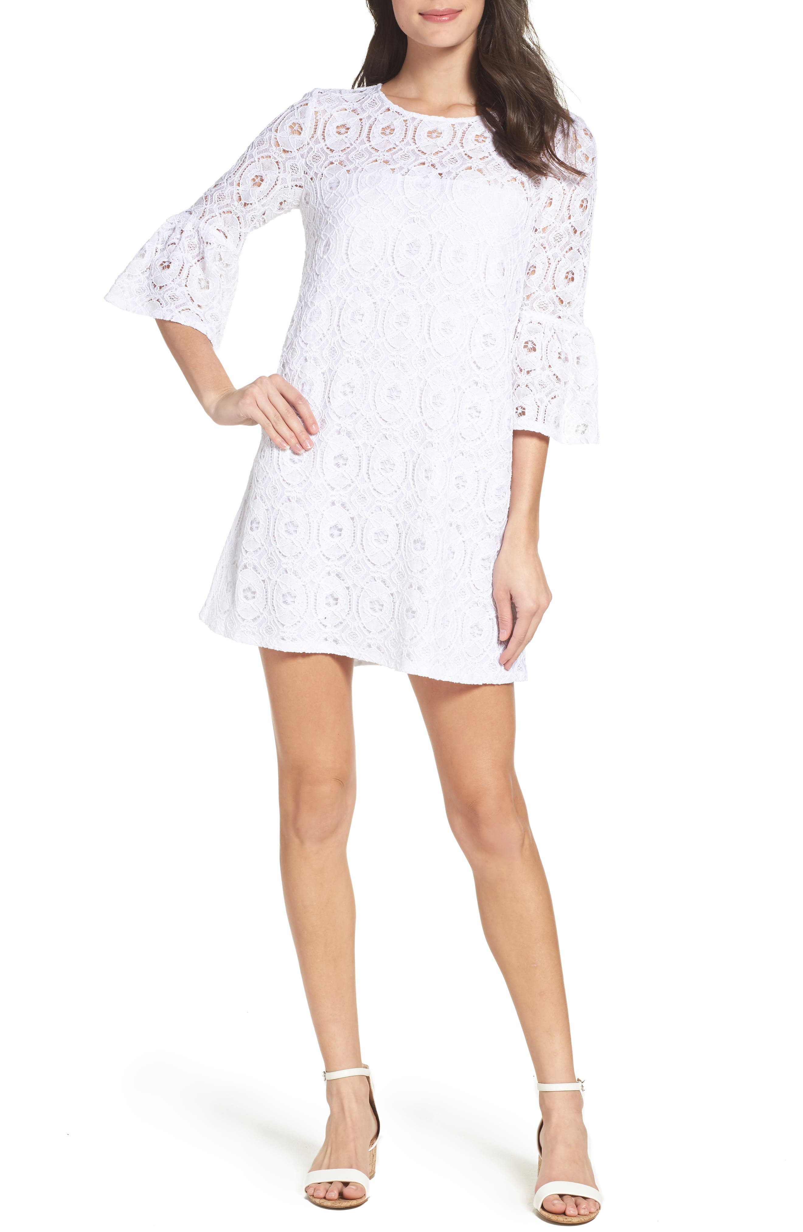 Alternate Image 1 Selected - BB Dakota Jesper Bell Sleeve Lace Shift Dress
