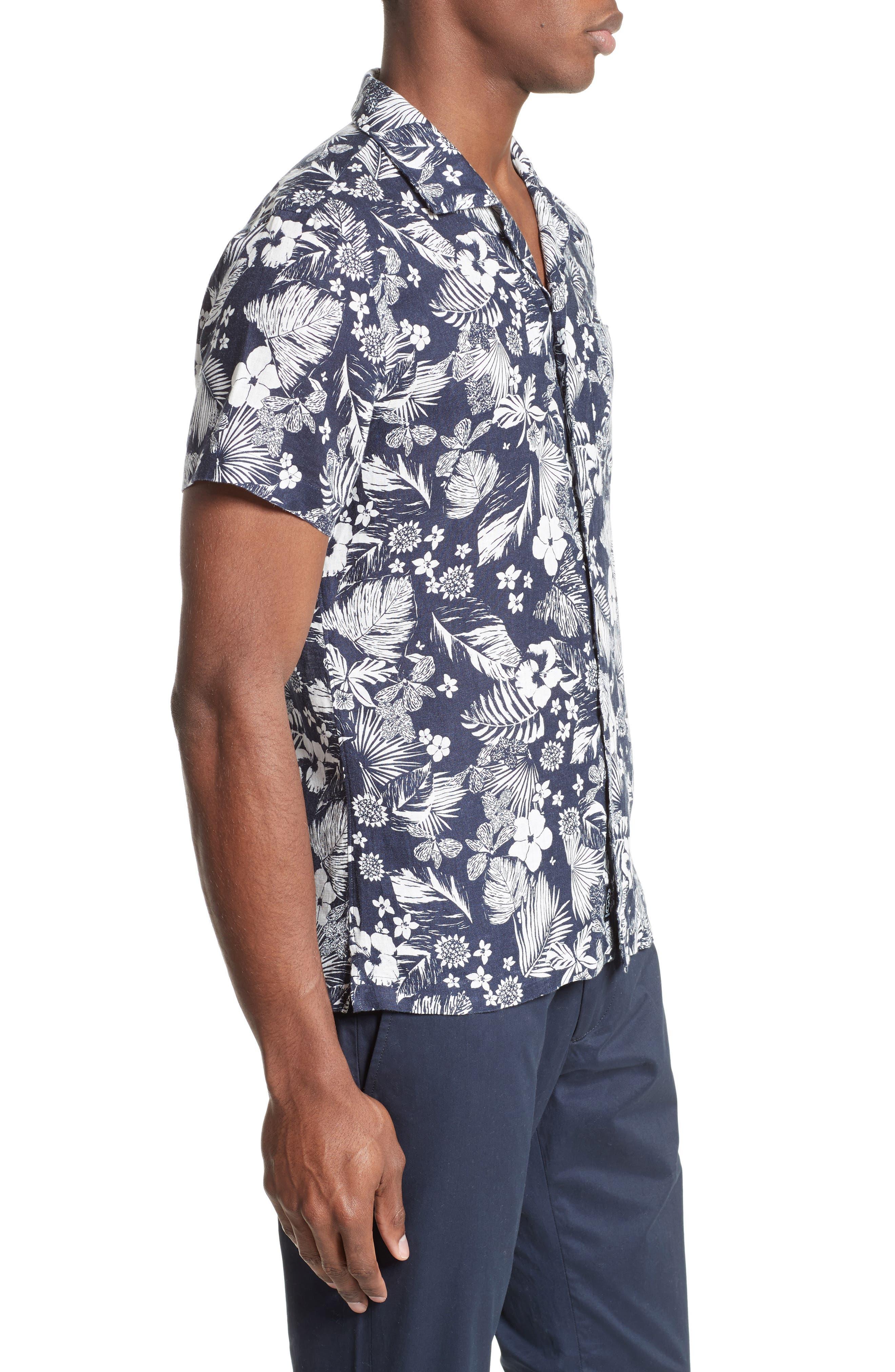 Alternate Image 3  - Todd Snyder Trim Fit Floral Print Linen Camp Shirt