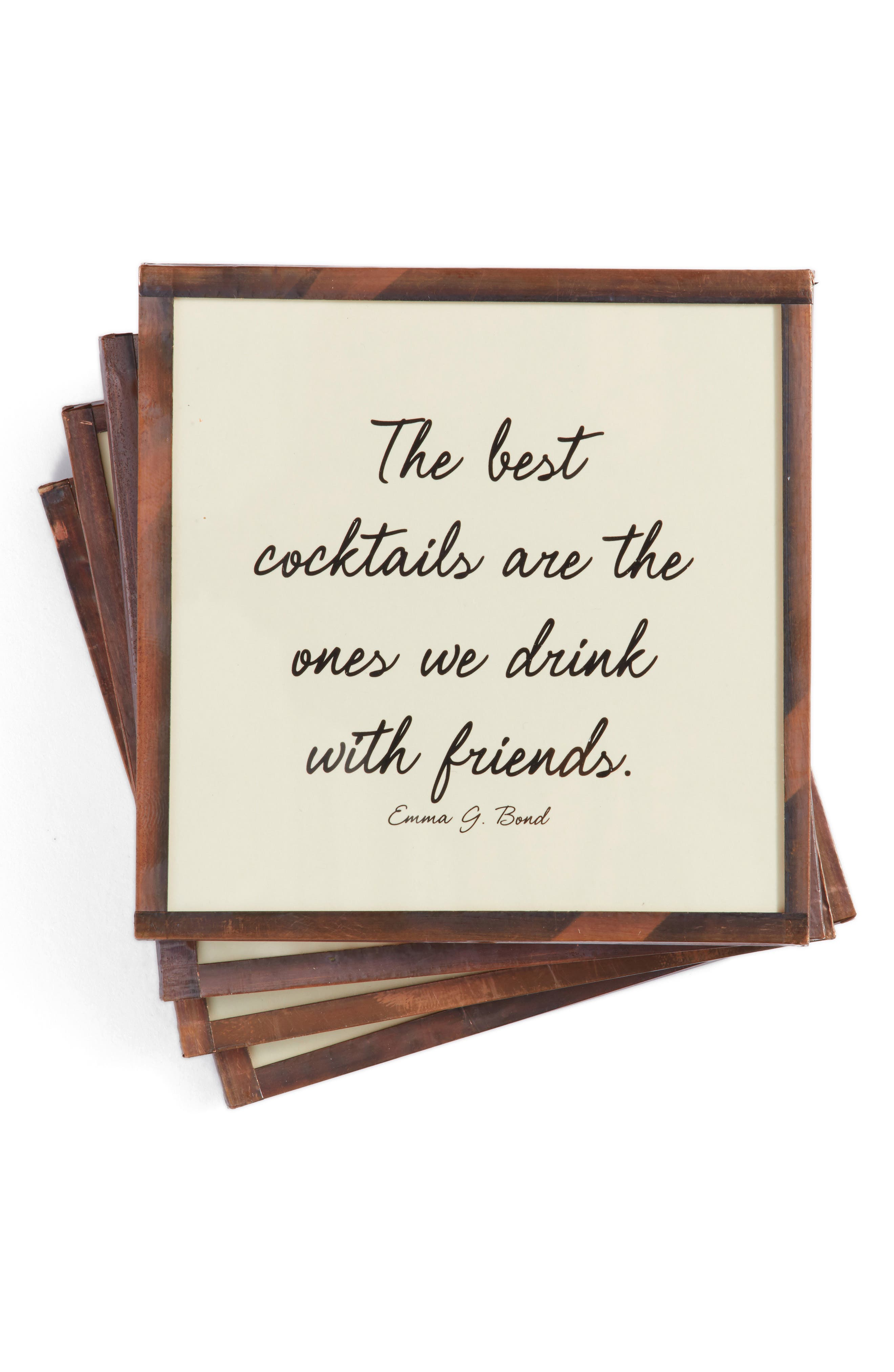 The Best Cocktails Set of 4 Coasters,                             Main thumbnail 1, color,                             Ivory