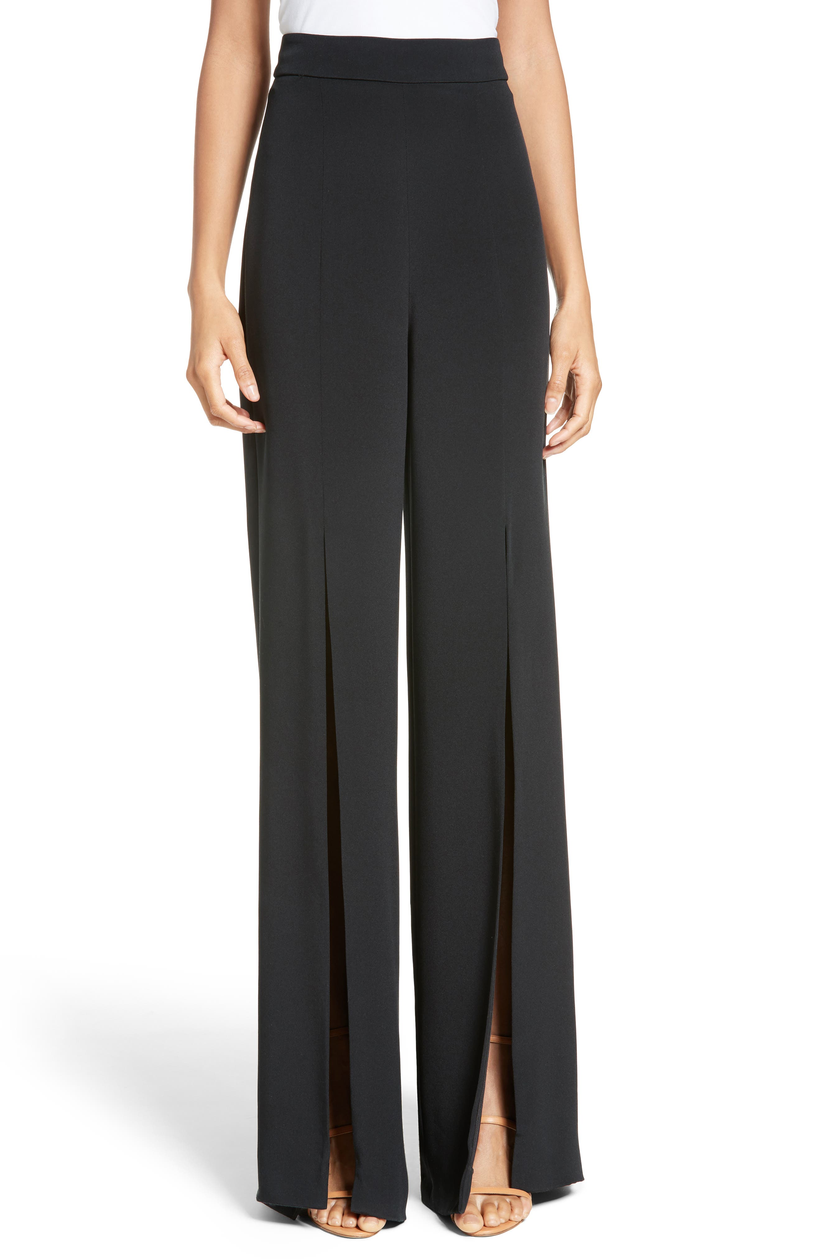 Slit Silk High Waisted Pants,                             Main thumbnail 1, color,                             Black