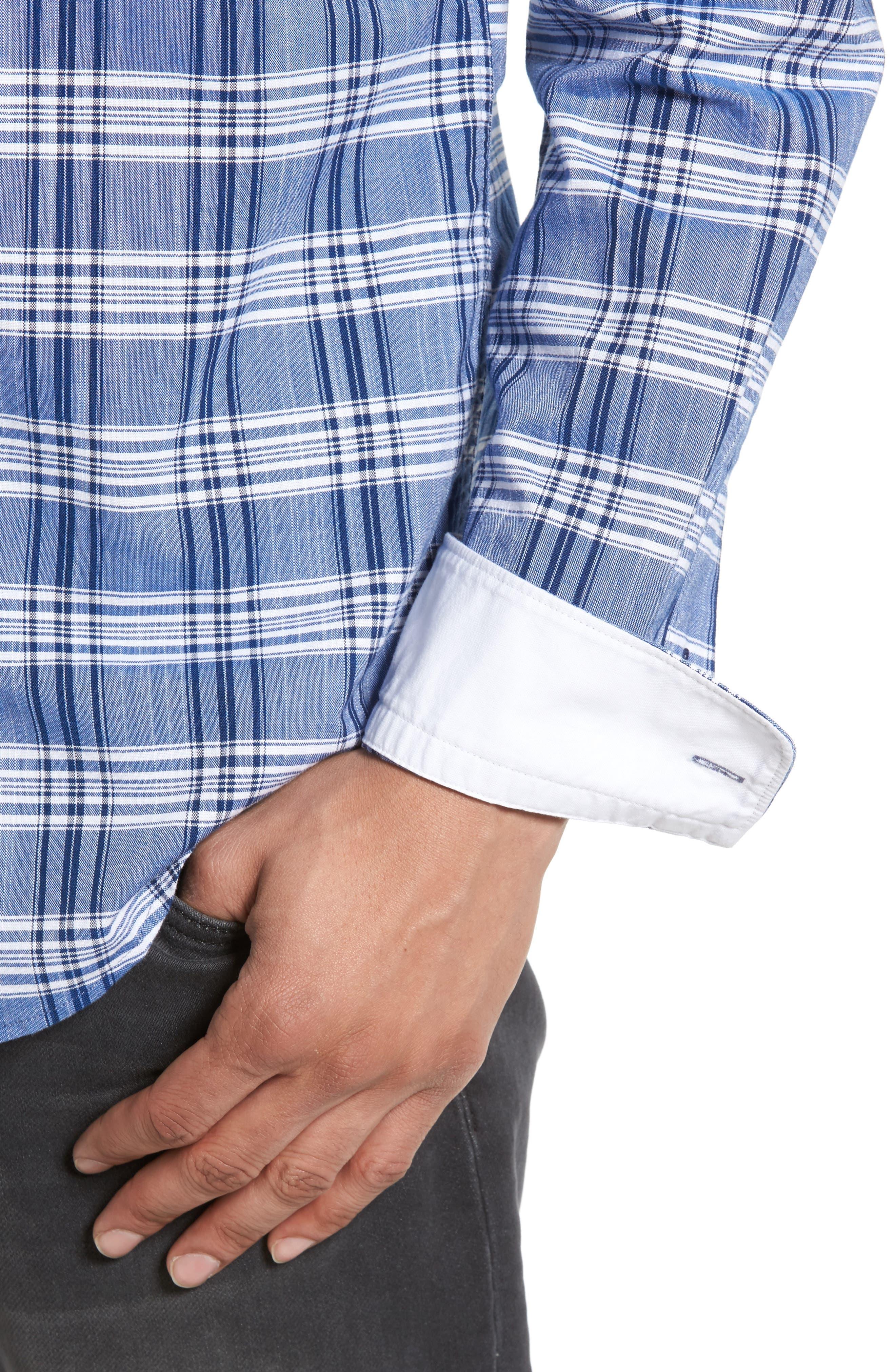 Alternate Image 4  - BOSS Robbie Trim Fit Large Check Sport Shirt