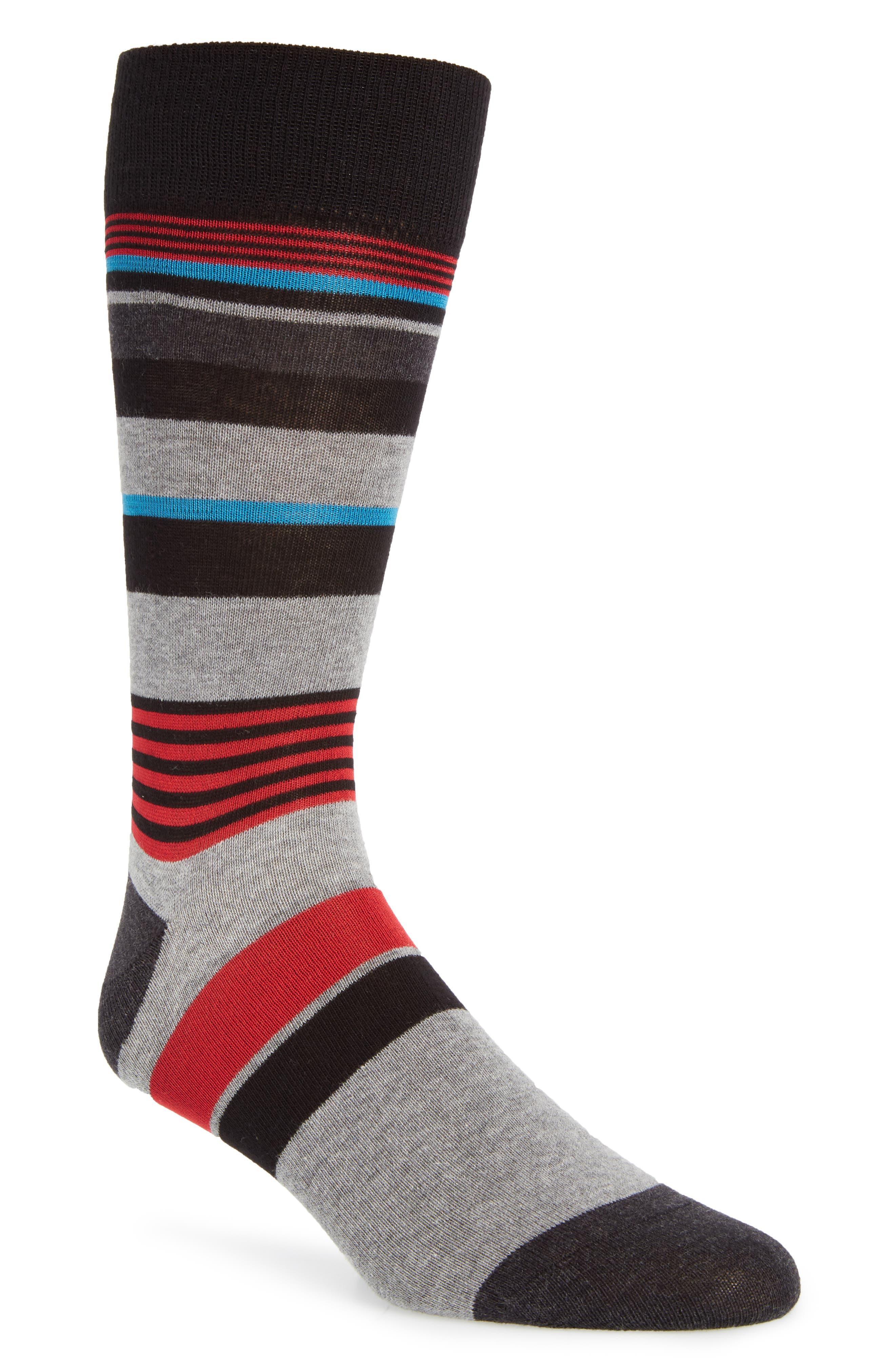 Stripe Socks,                         Main,                         color, Black/ Future Red