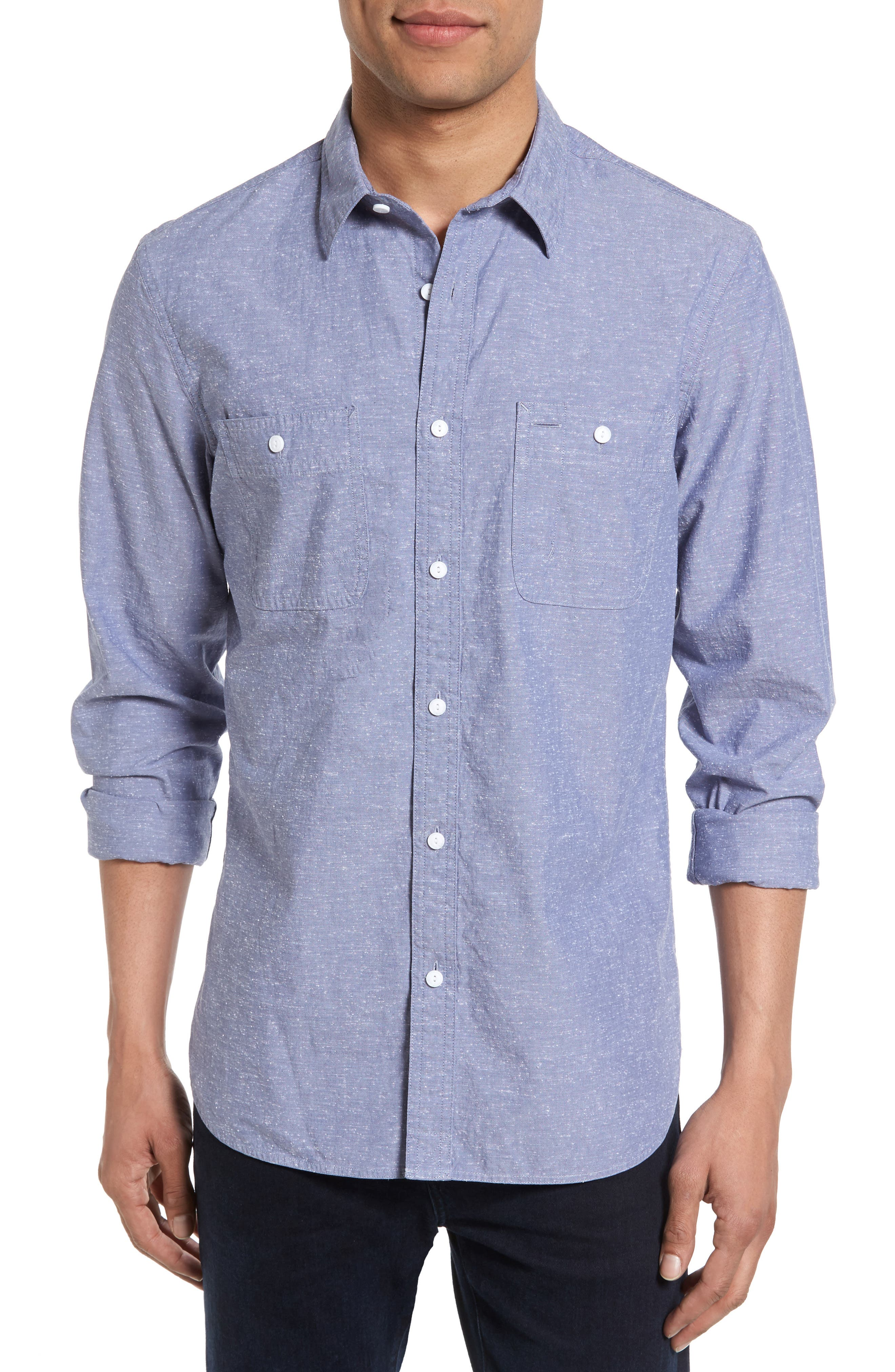 Slim Fit Slub Cotton Sport Shirt,                         Main,                         color, Blue Dusk Nep Chambray