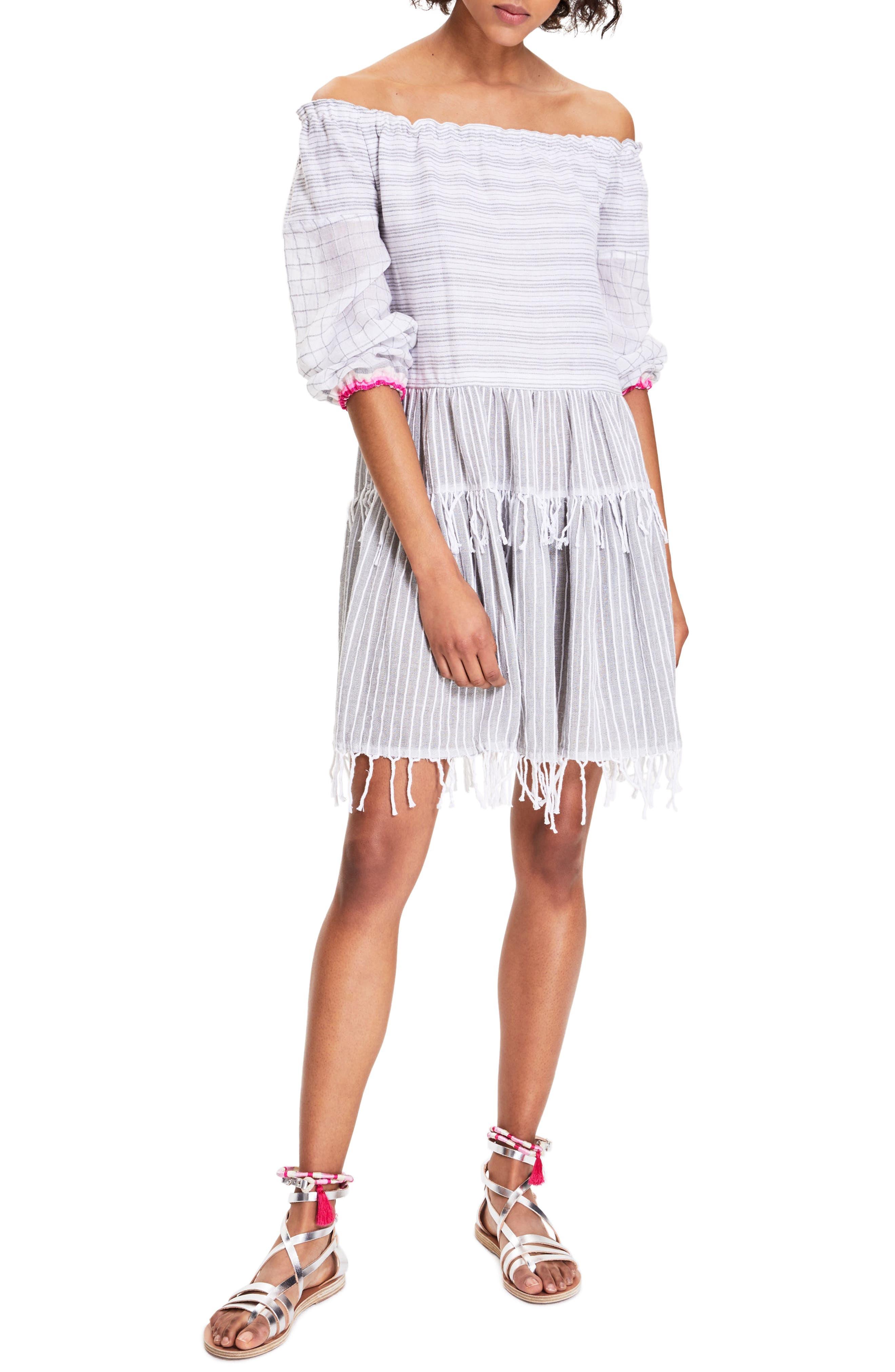 lemlem Anana Off the Shoulder Cover-Up Dress