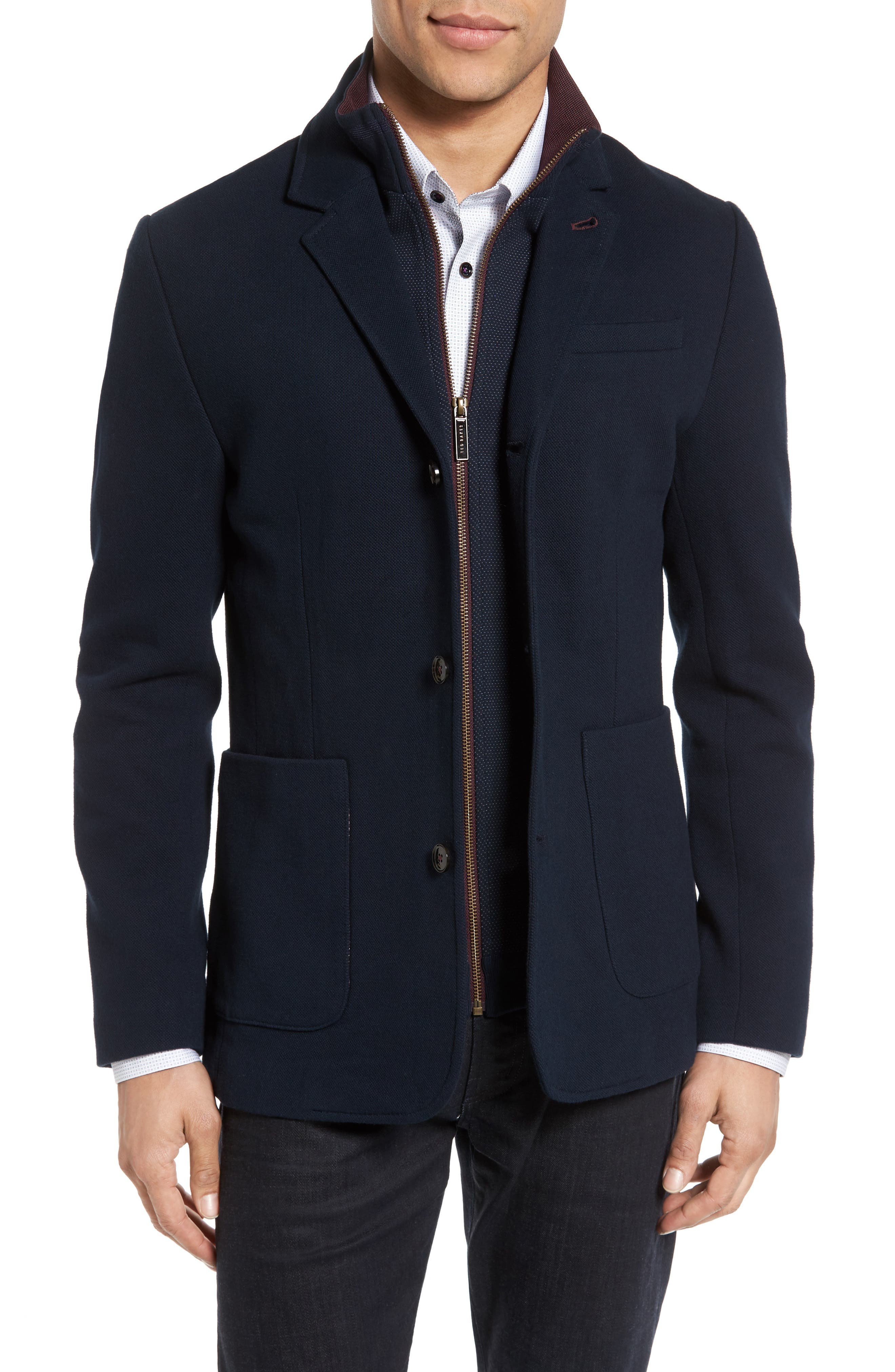 Knit Bib Inset Three-Button Jacket,                             Main thumbnail 1, color,                             Navy