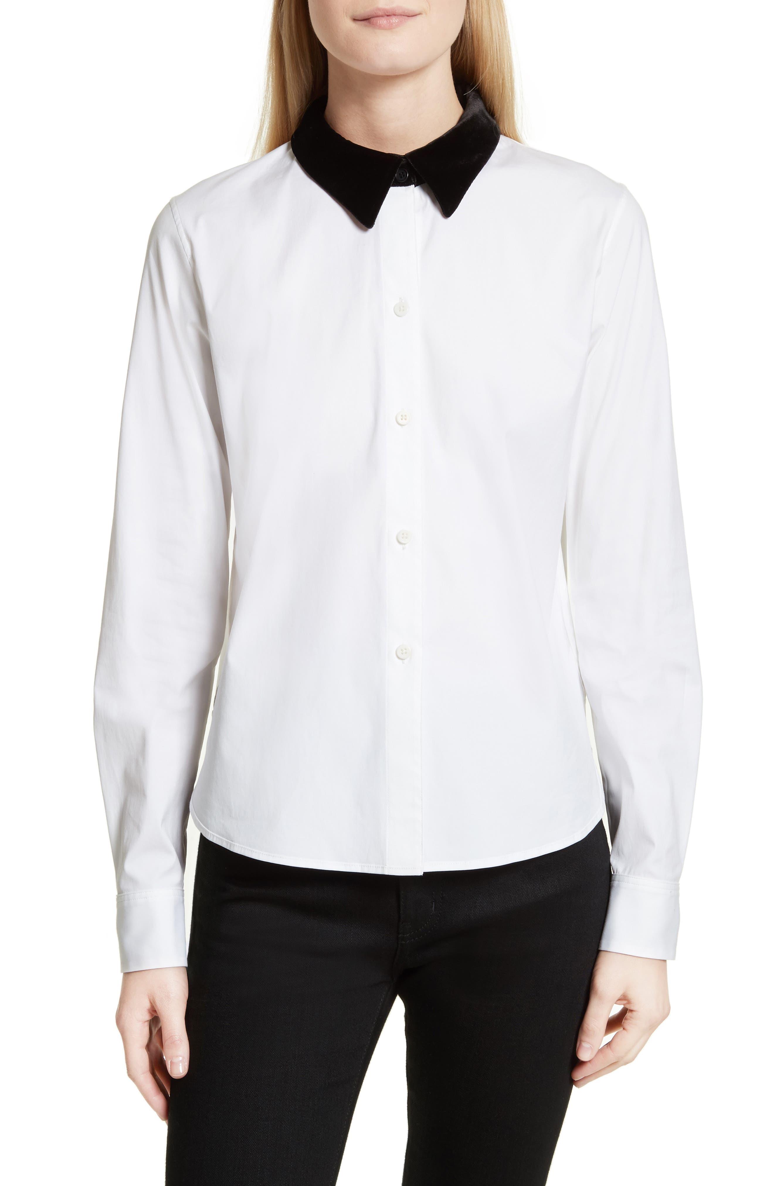 Velvet Collar Stretch Cotton Shirt,                         Main,                         color, White