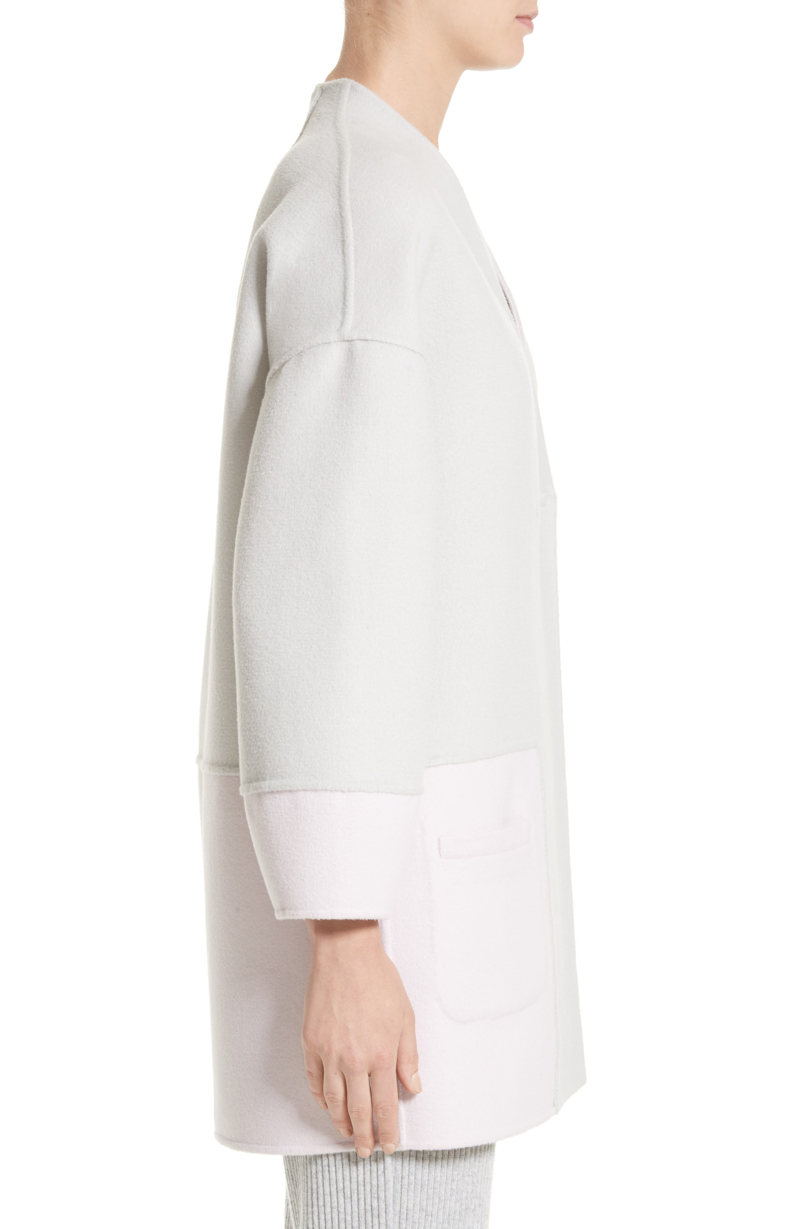 Reversible Wool Blend Cocoon Coat,                             Alternate thumbnail 3, color,                             Petal/ Light Grey Melange