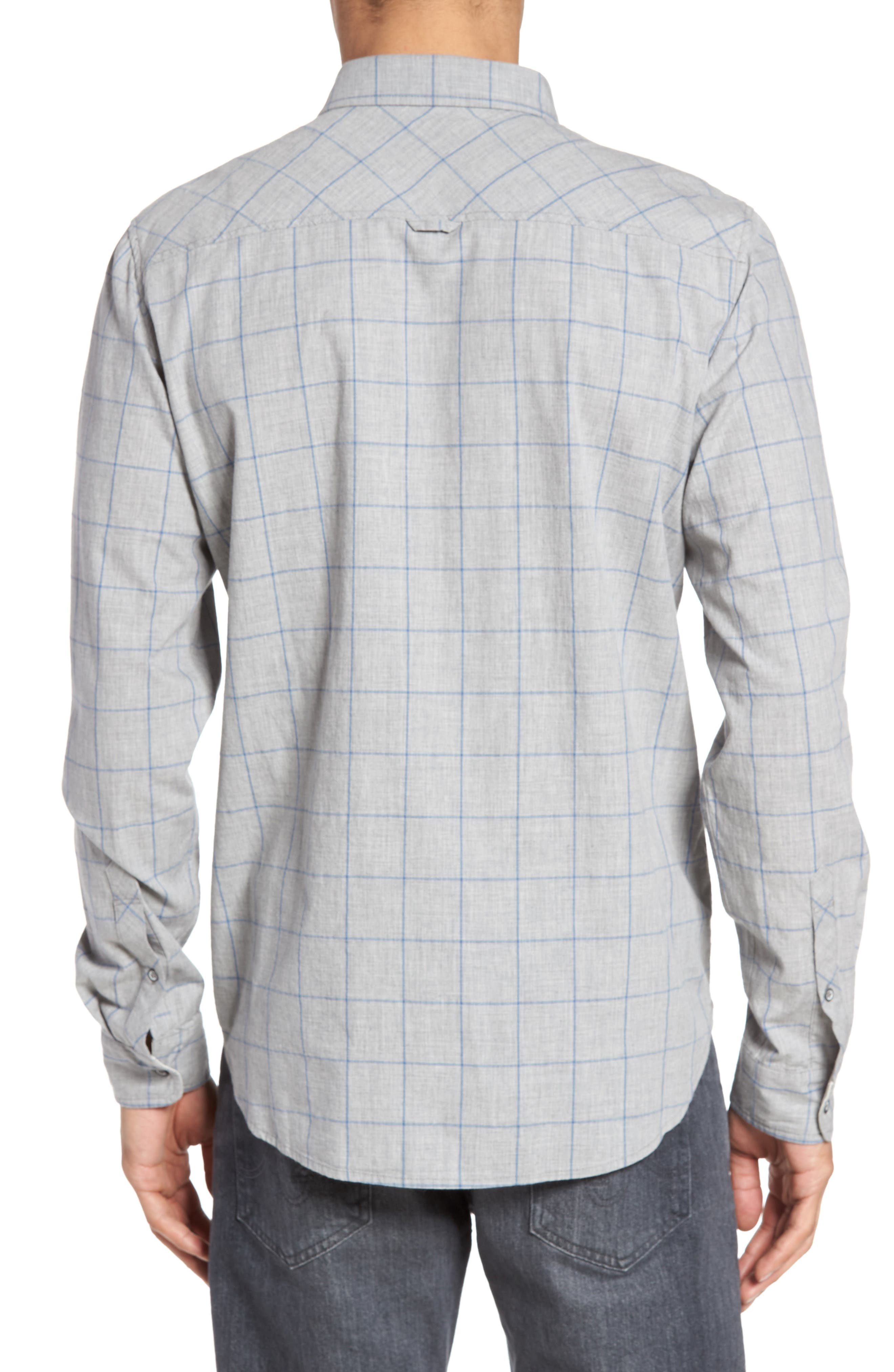 Grady Cotton Sport Shirt,                             Alternate thumbnail 2, color,                             Heather Grey/ Sailor Blue