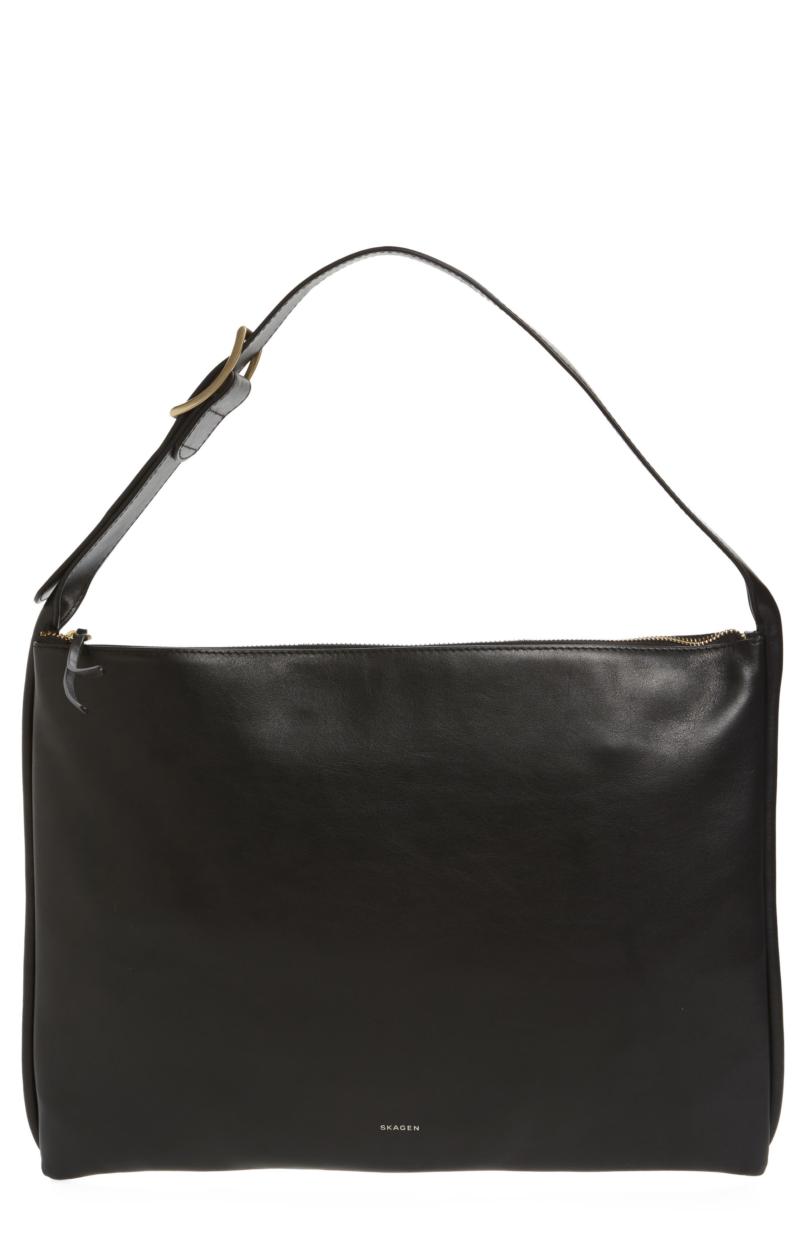 Anesa Leather Shoulder Bag,                             Main thumbnail 1, color,                             Black