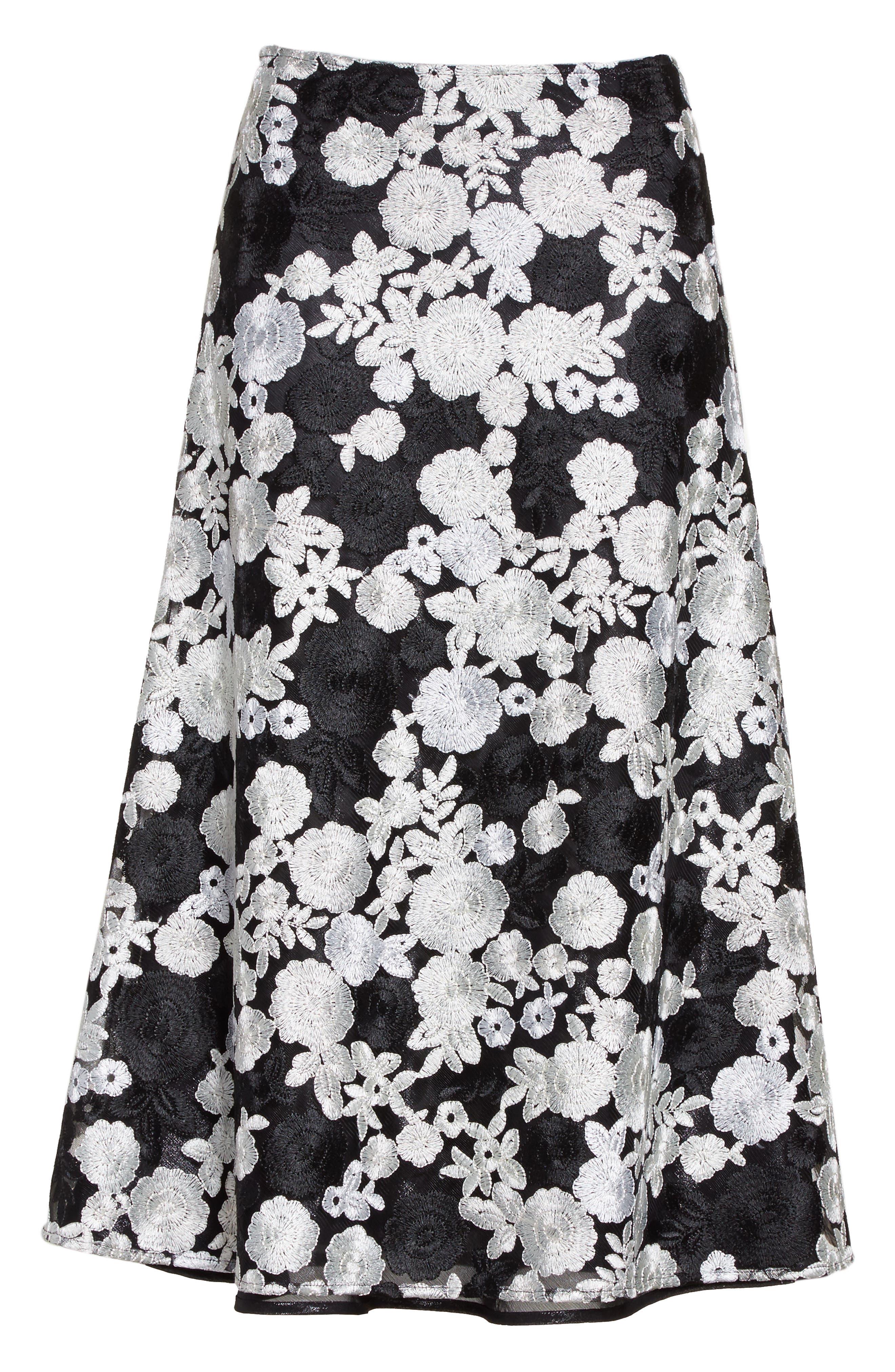 St. John Floral Embroidered Flared Skirt,                             Alternate thumbnail 7, color,                             Caviar Multi