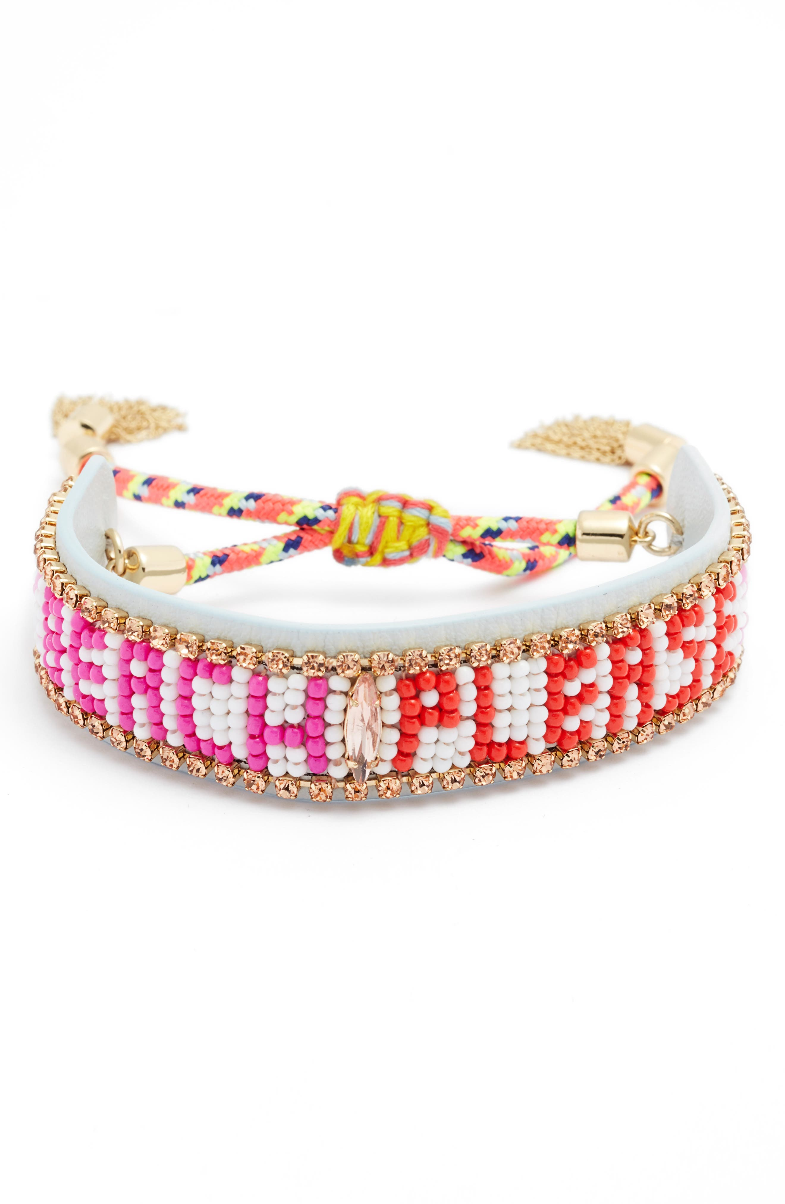 Beach Please Seed Bead Bracelet,                             Main thumbnail 1, color,                             White Multi