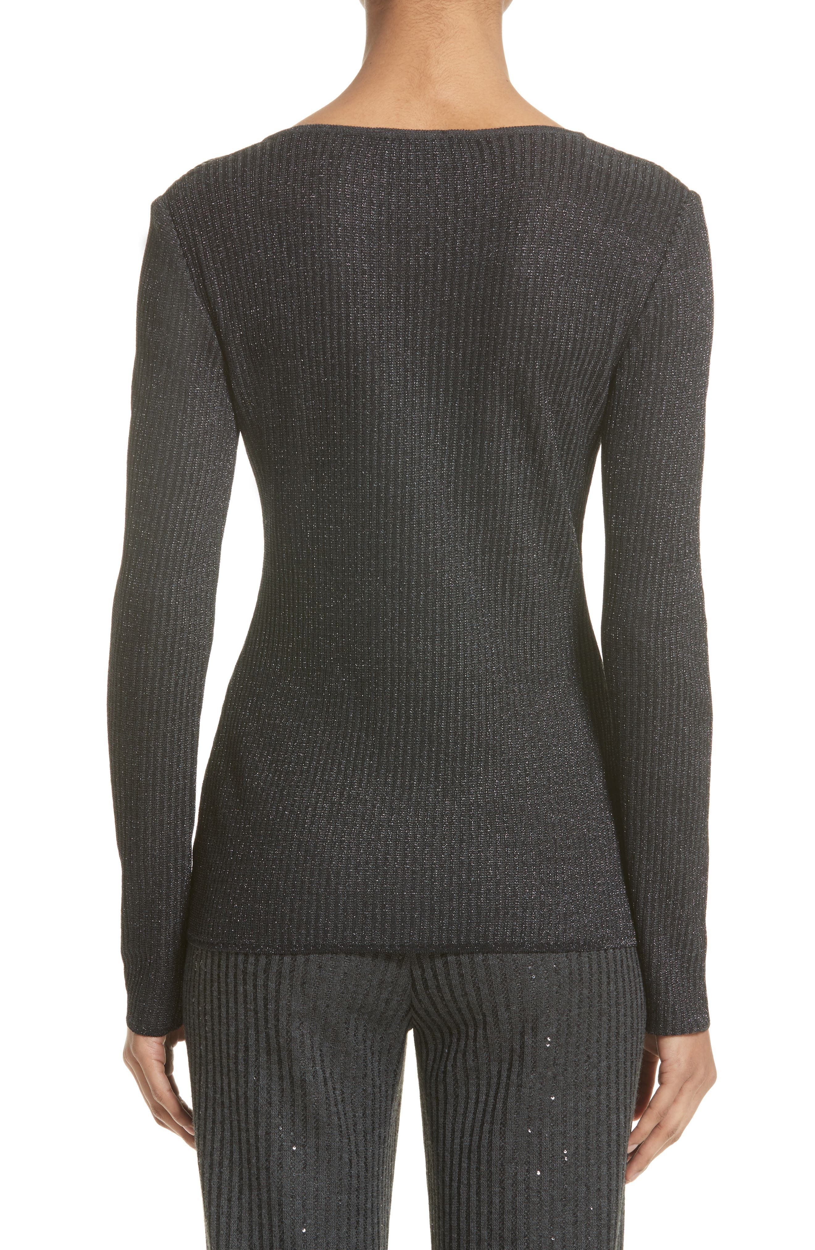 Alternate Image 2  - St. John Collection Engineered Rib Sparkle Knit Sweater
