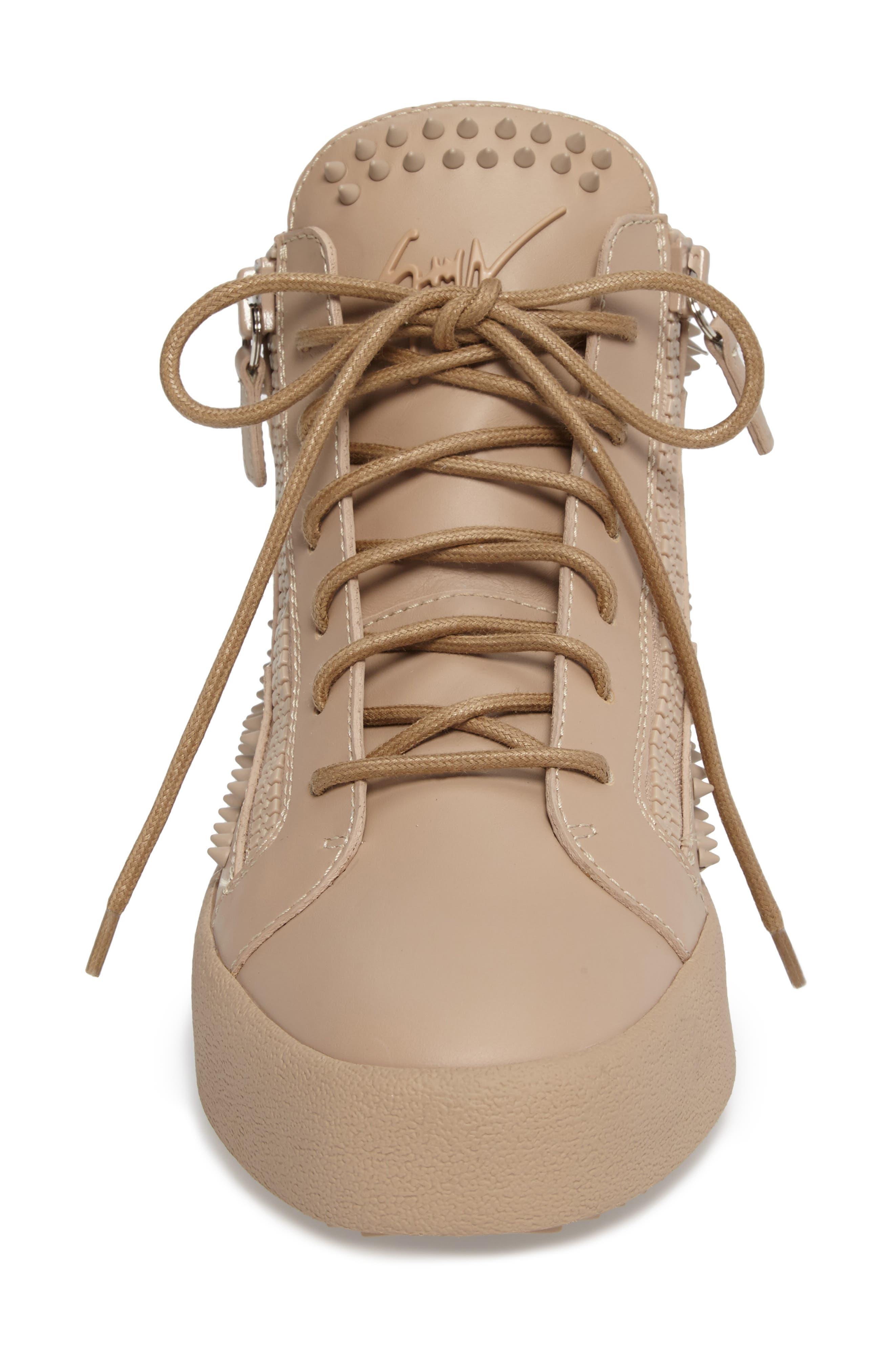 Studded Mid Top Sneaker,                             Alternate thumbnail 4, color,                             Tan/ Birel Sughero