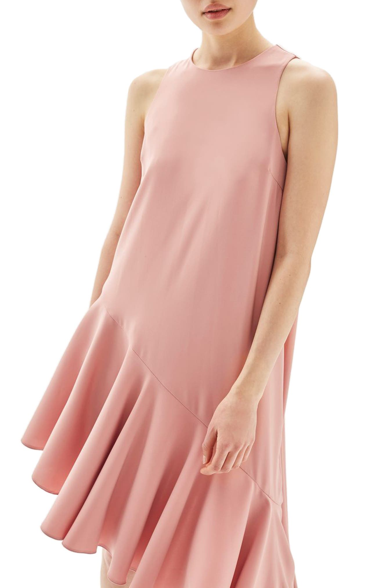 Alternate Image 1 Selected - Topshop Ruffle Asymmetrical Midi Dress