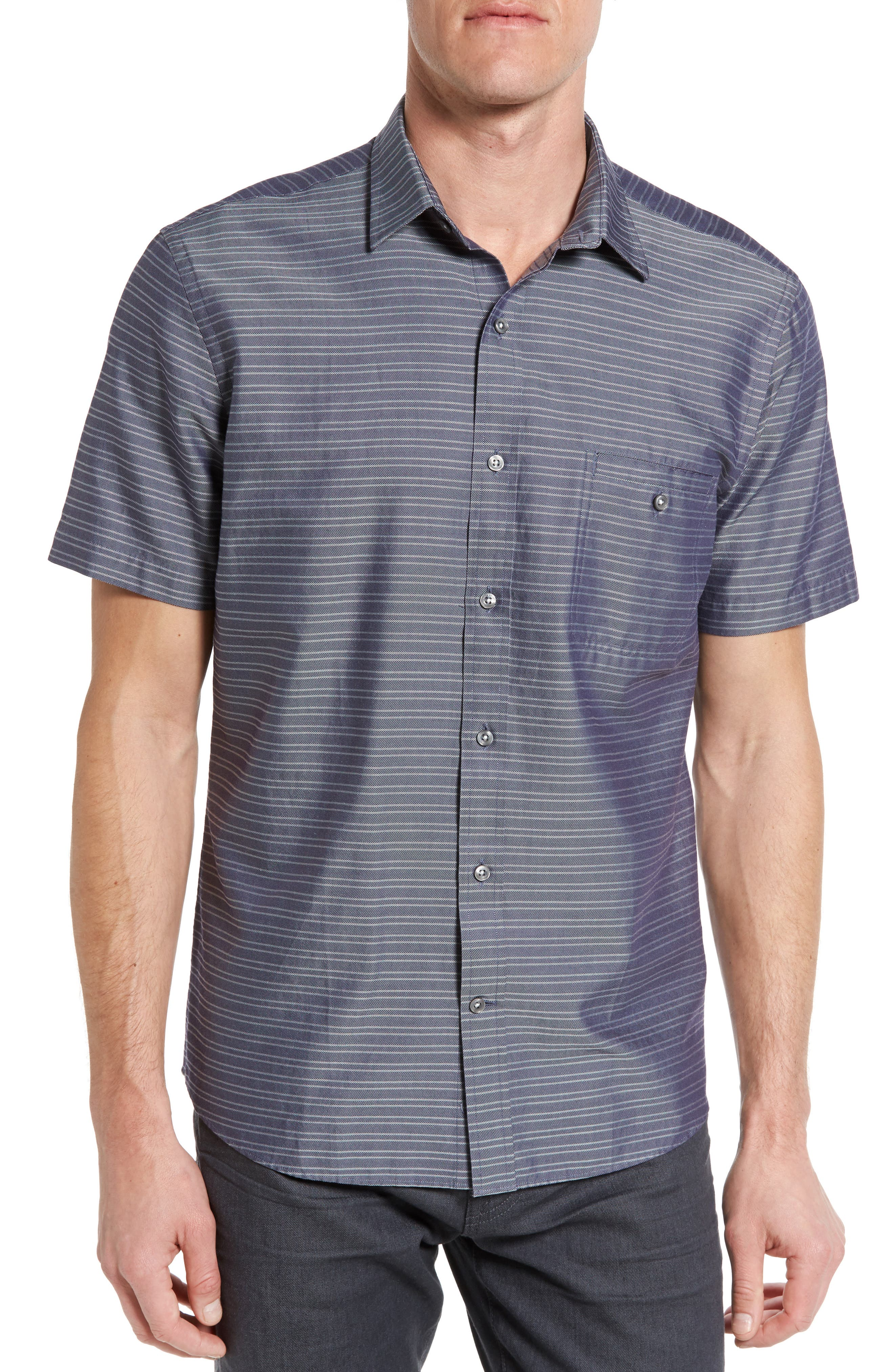 Maker & Company Tailored Fit Stripe Sport Shirt