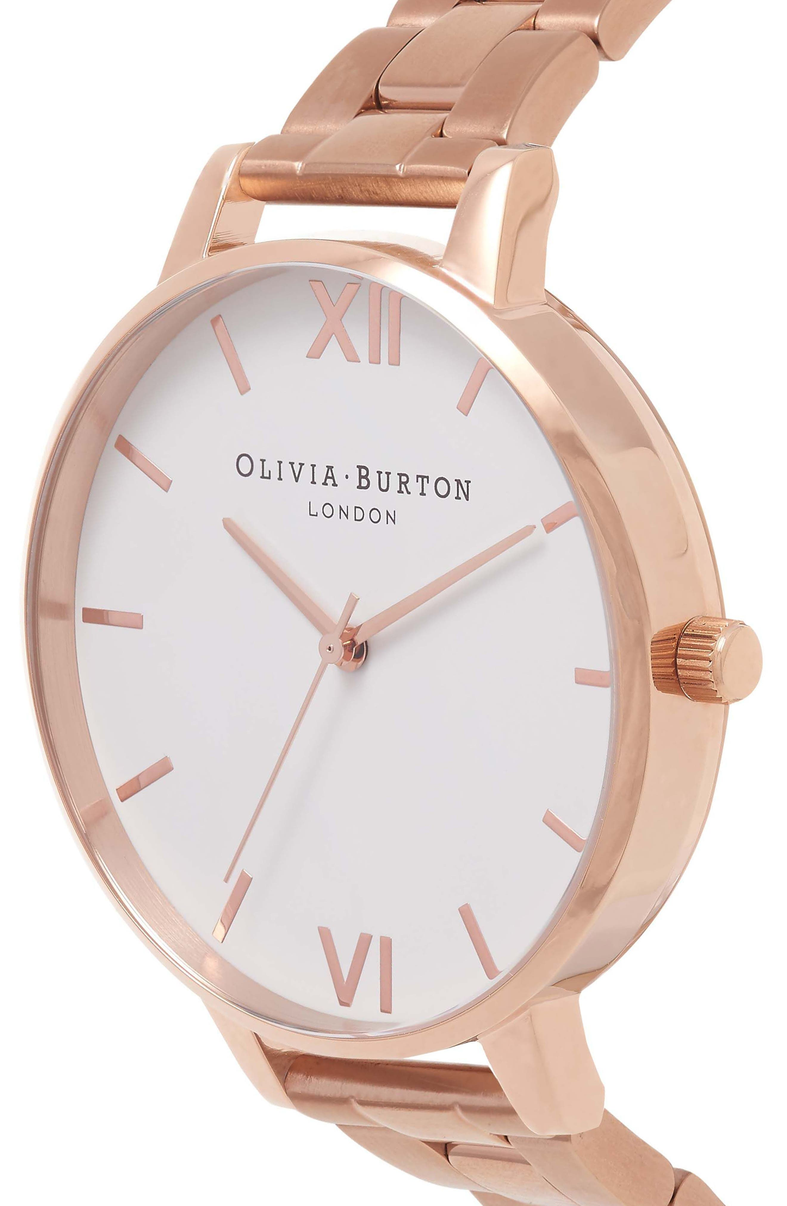 Big Dial Bracelet Watch, 38mm,                             Alternate thumbnail 2, color,                             Rose Gold/ White/ Rose Gold