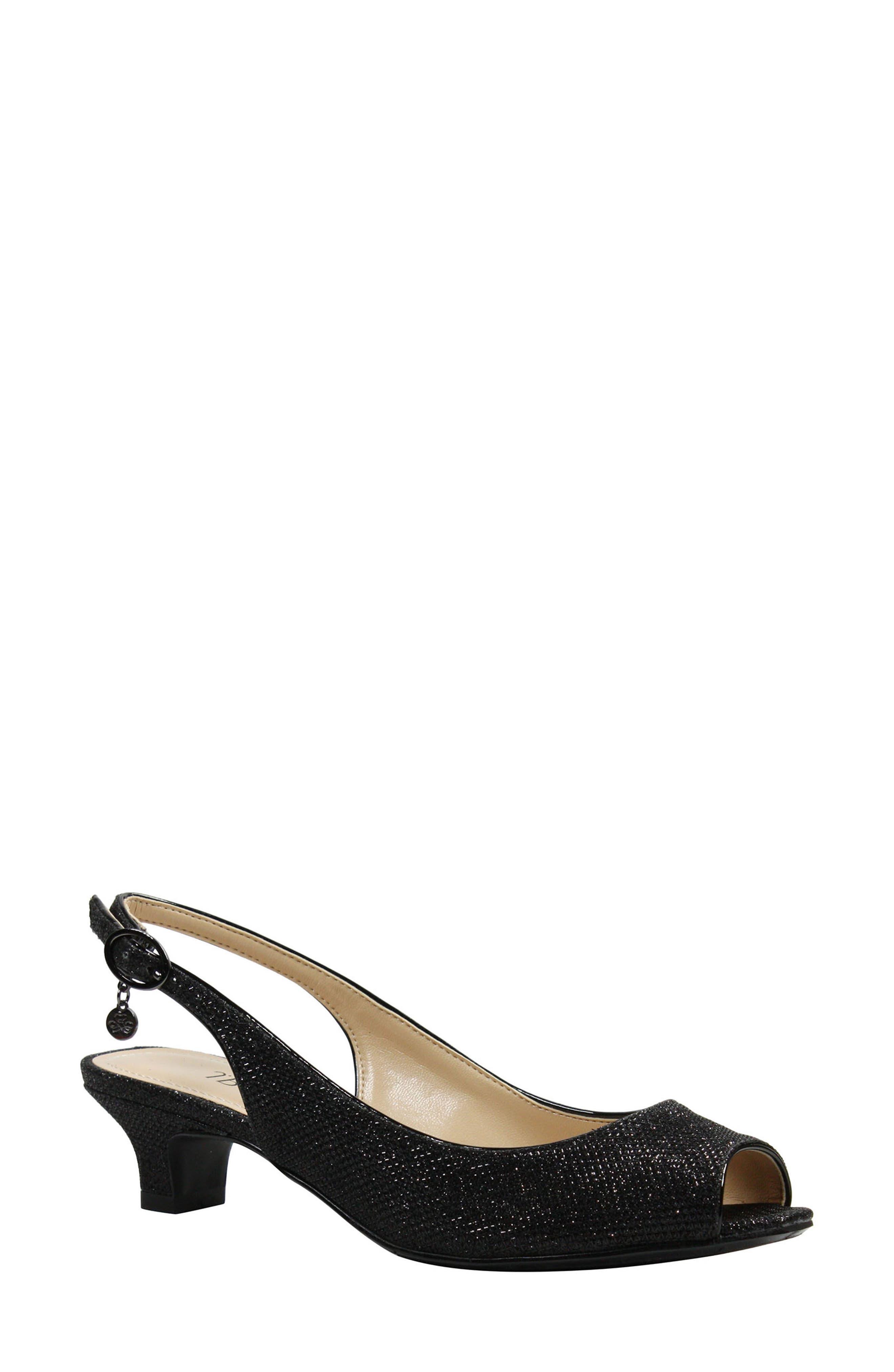 Jenvey Slingback Sandal,                         Main,                         color, Black Fabric