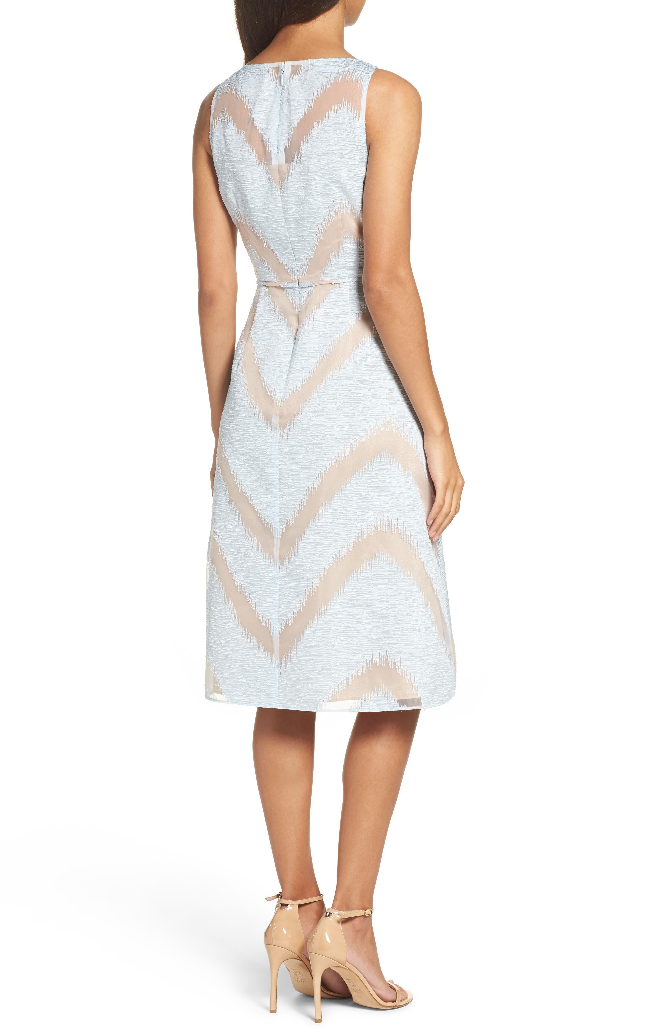 Jacquard Midi Dress,                             Alternate thumbnail 2, color,                             Ice