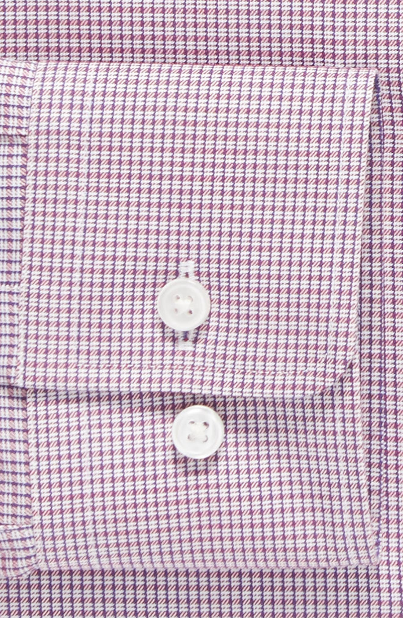 Sharp Fit Check Dress Shirt,                             Alternate thumbnail 4, color,                             Red