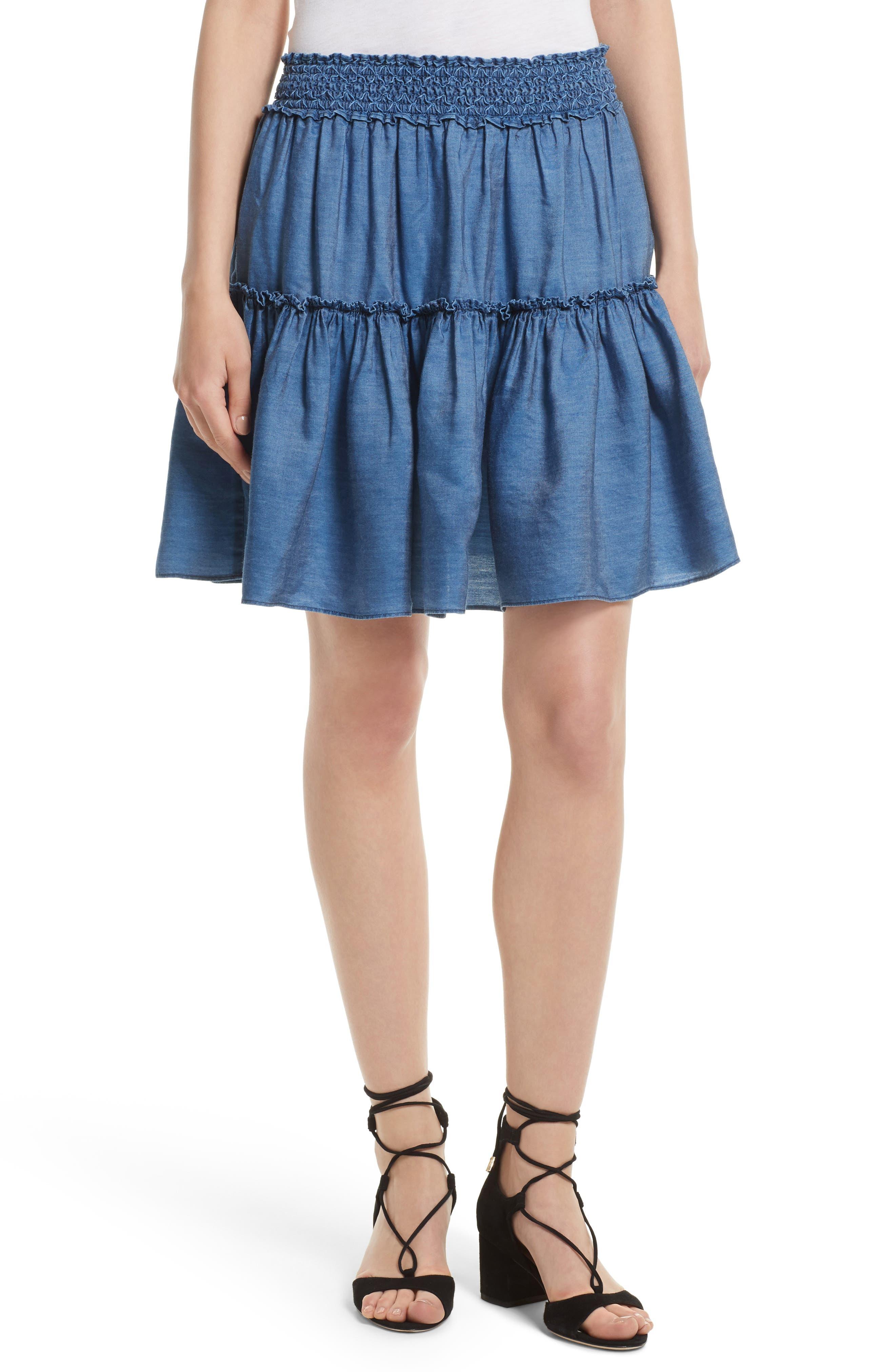 smocked waist chambray skirt,                         Main,                         color, Medium Indigo