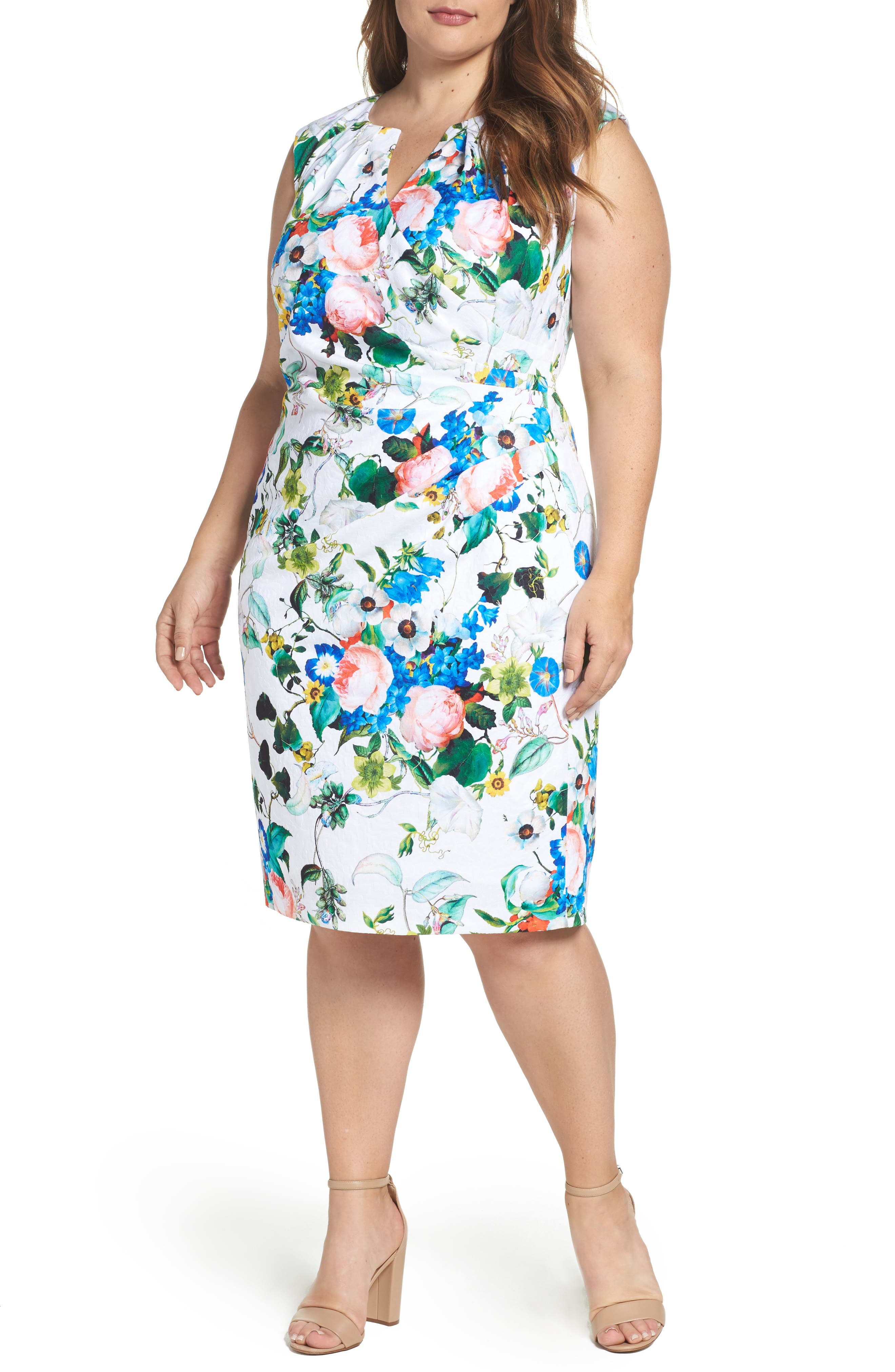 Side Pleat Floral Sheath Dress,                             Main thumbnail 1, color,                             Ivory Multi