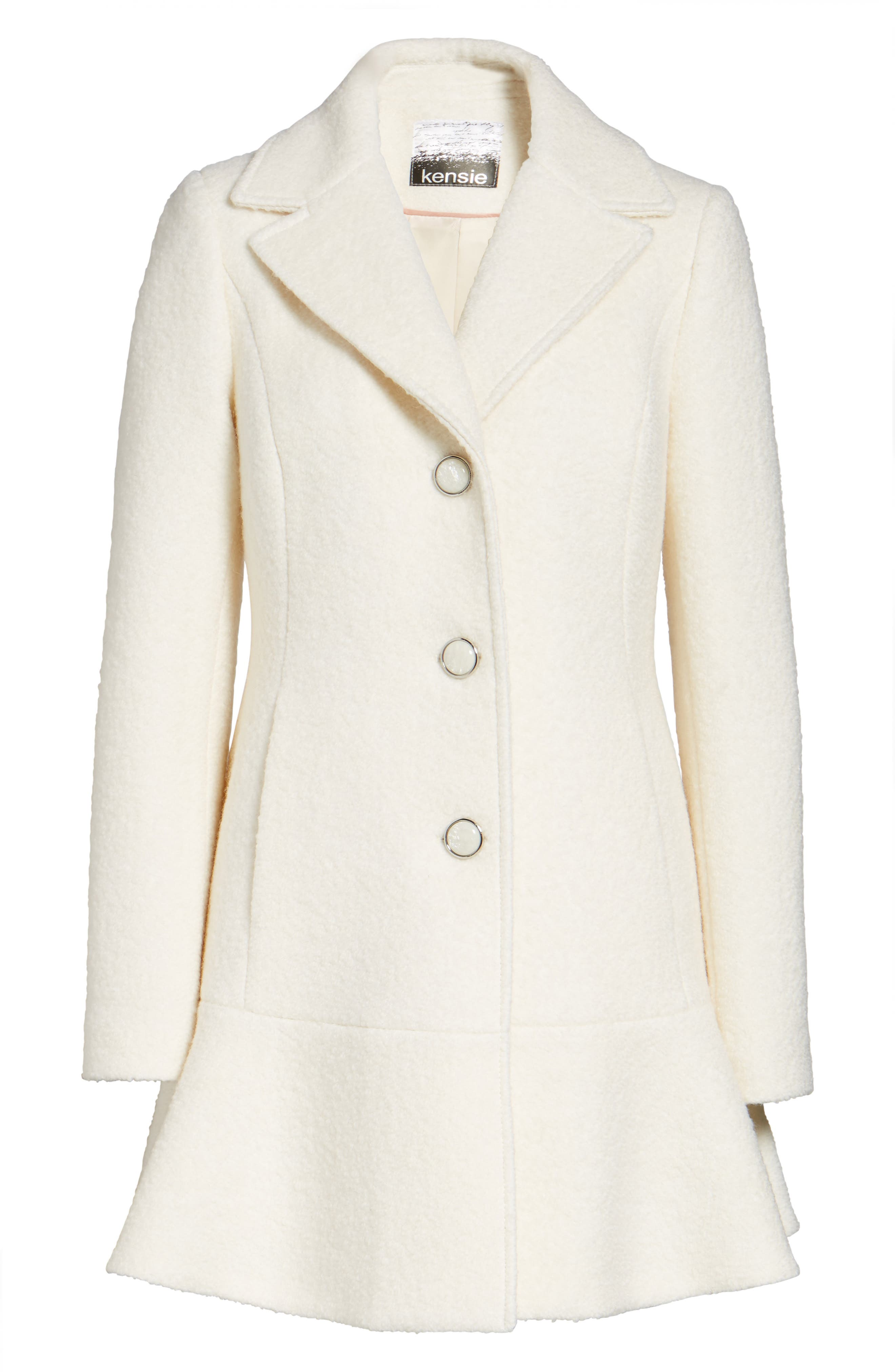 kensie Notch Lapel Peplum Coat