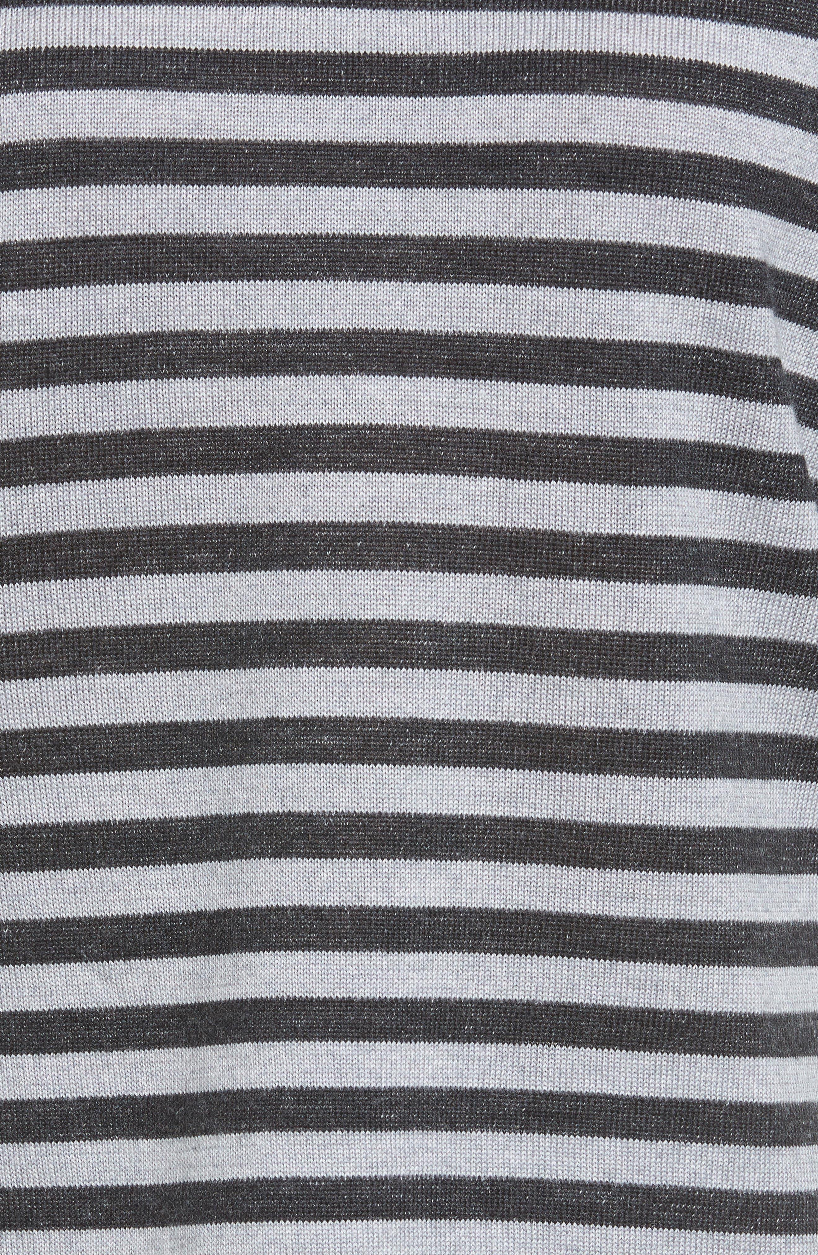 Stripe Merino Wool Pullover,                             Alternate thumbnail 5, color,                             Charcoal/ Dark Pearl