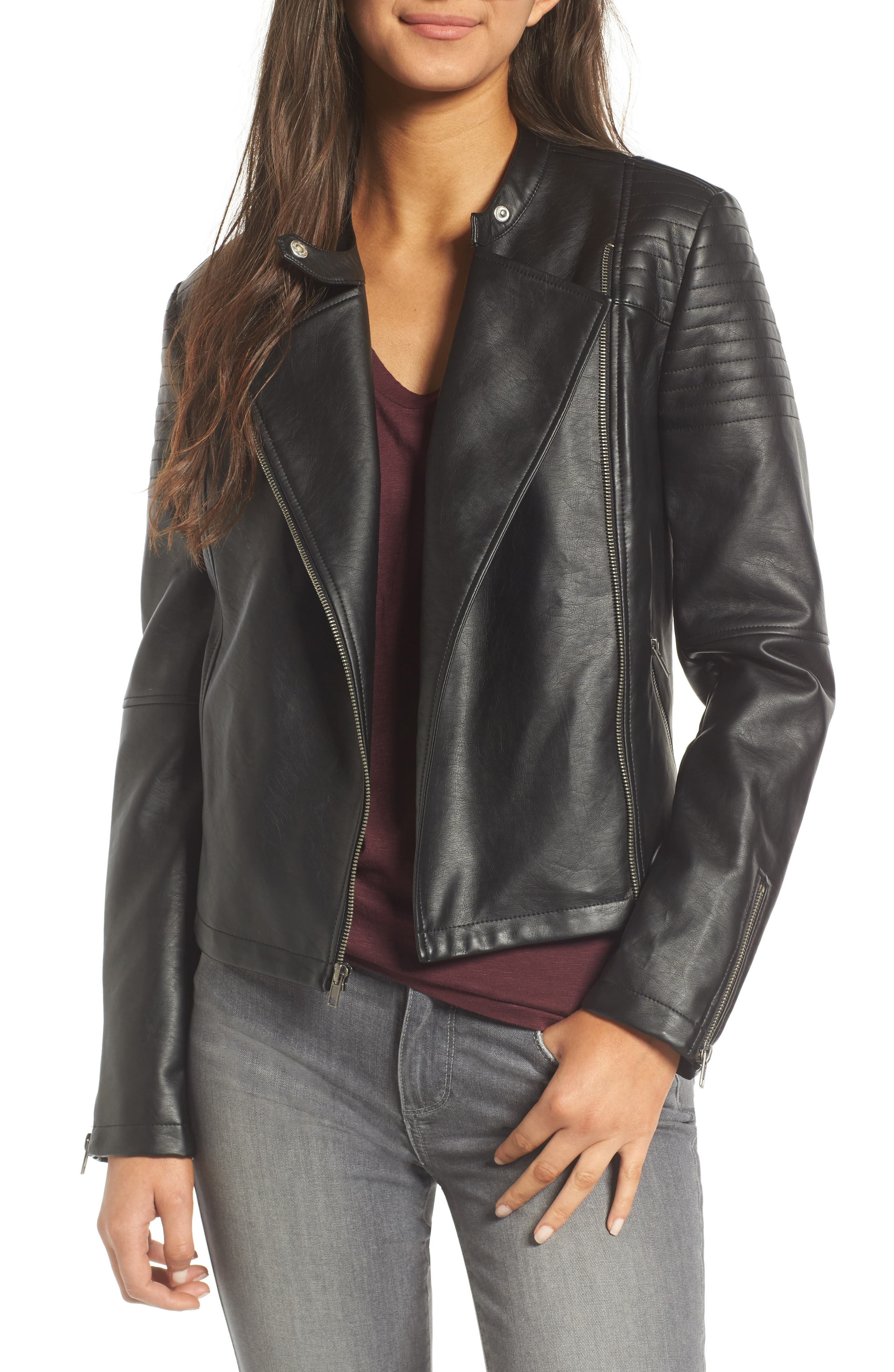 cupcakes and cashmere Cherlin Faux Leather Moto Jacket