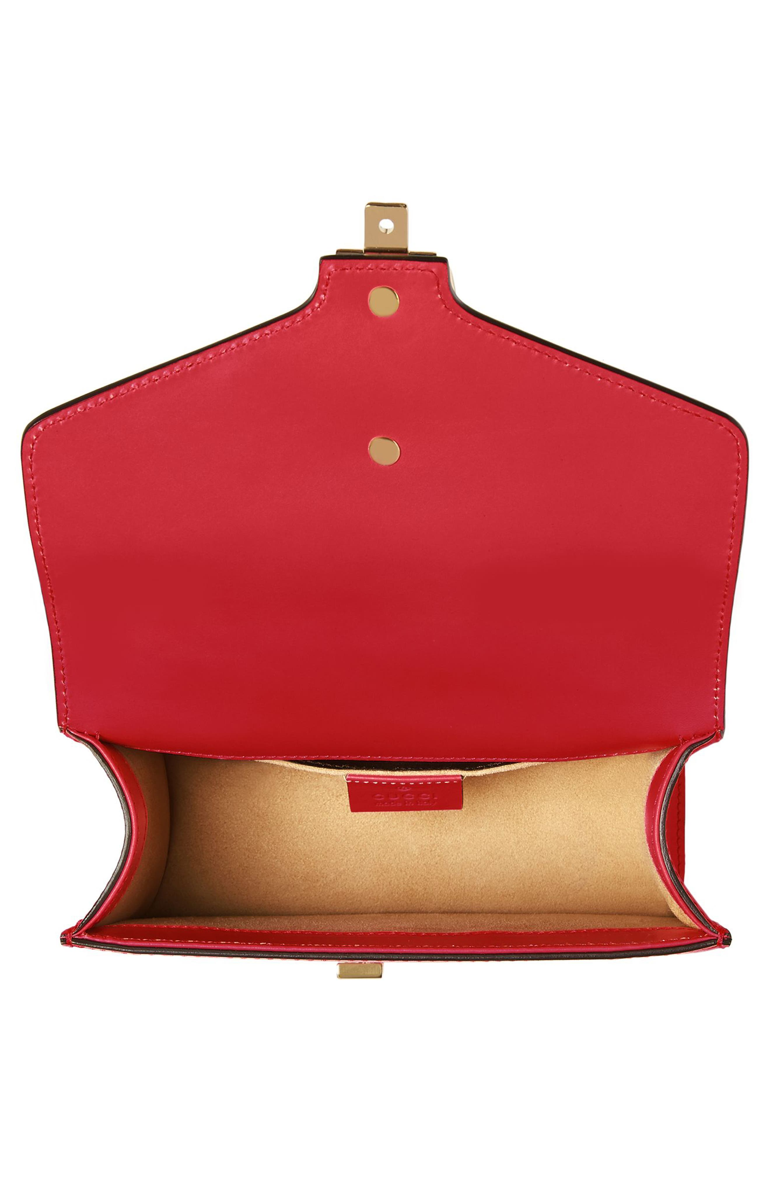 Mini Sylvie Leather Shoulder Bag,                             Alternate thumbnail 3, color,                             Hibiscus Red
