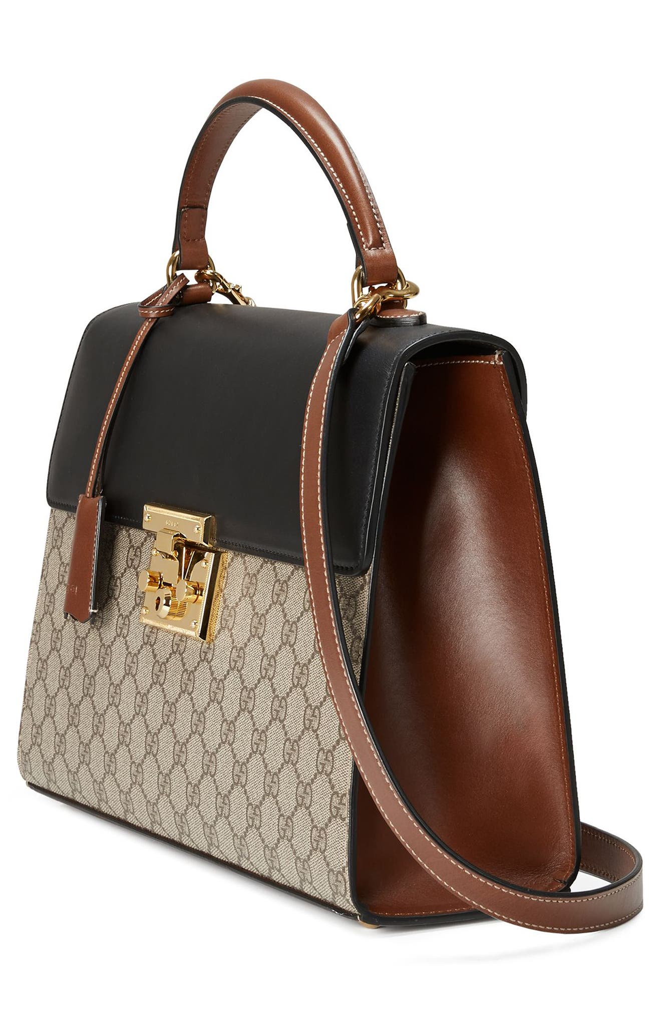 Medium Padlock Top Handle GG Supreme Canvas & Leather Bag,                             Alternate thumbnail 4, color,                             Beige Ebony/Nero/Cuir
