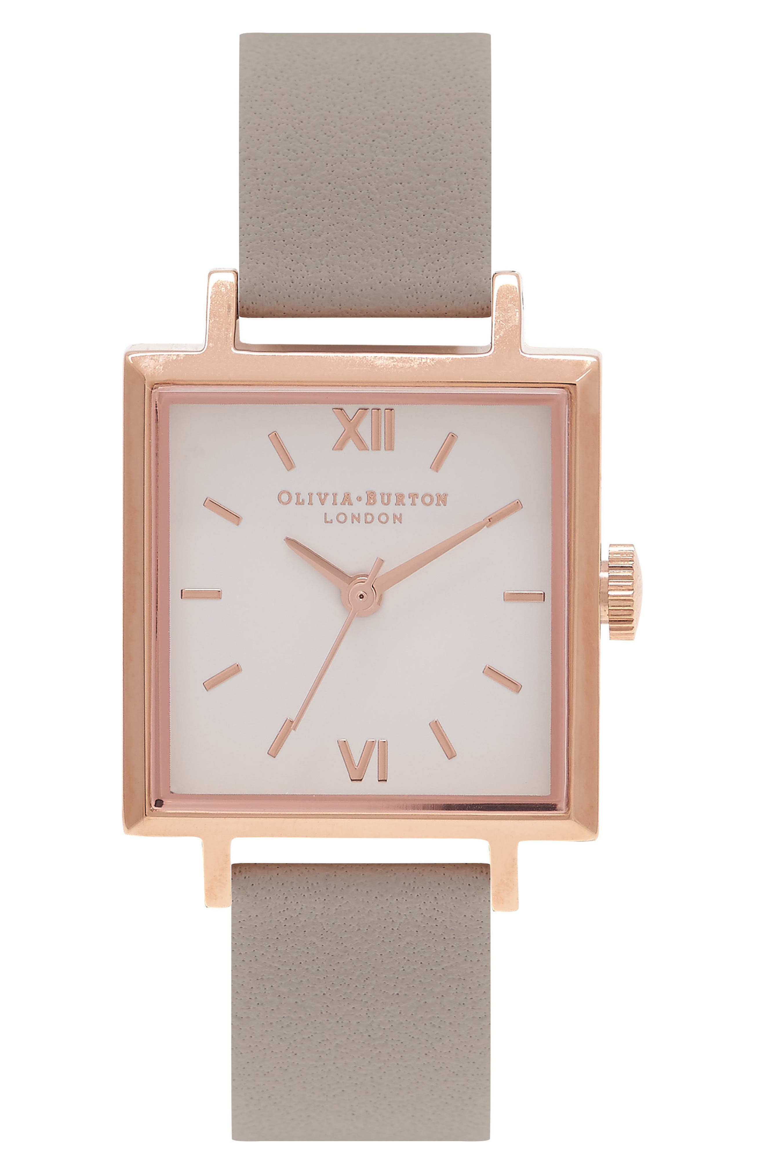 Square Leather Strap Watch, 23mm,                         Main,                         color, Grey/ White/ Rose Gold