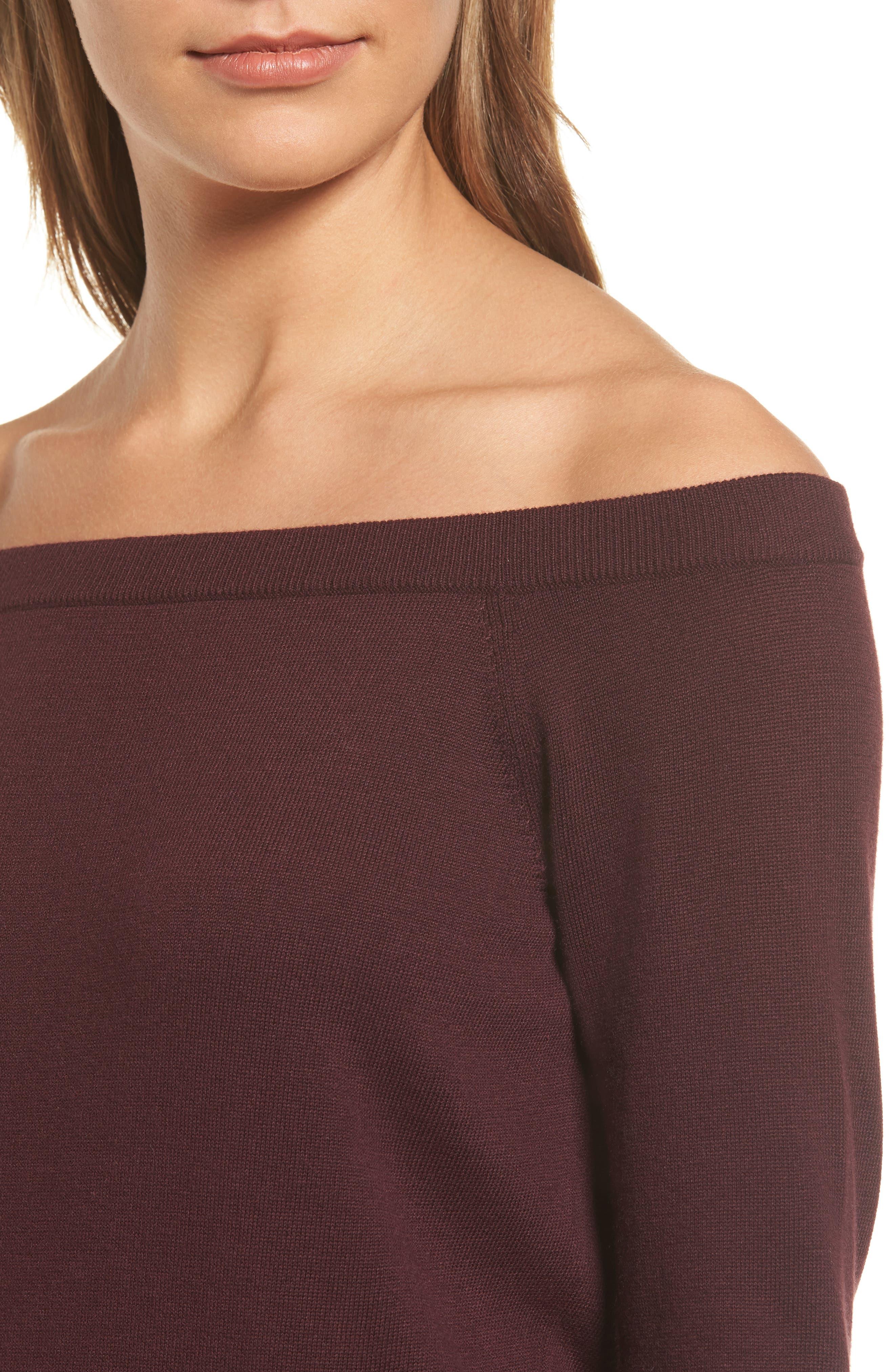 Alternate Image 4  - Halogen® Cotton Blend Off the Shoulder Sweater (Regular & Petite)